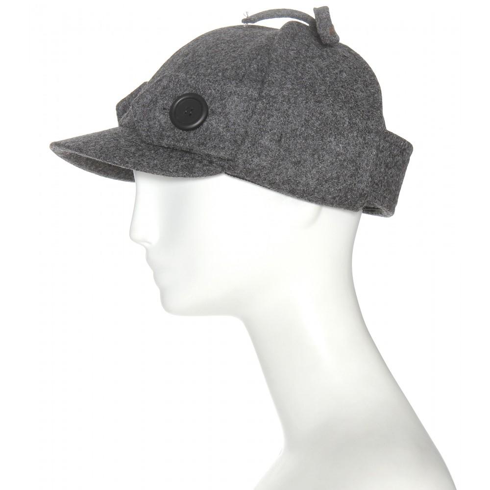 Lyst - Miu Miu Wool Hat in Gray 61c880f6111