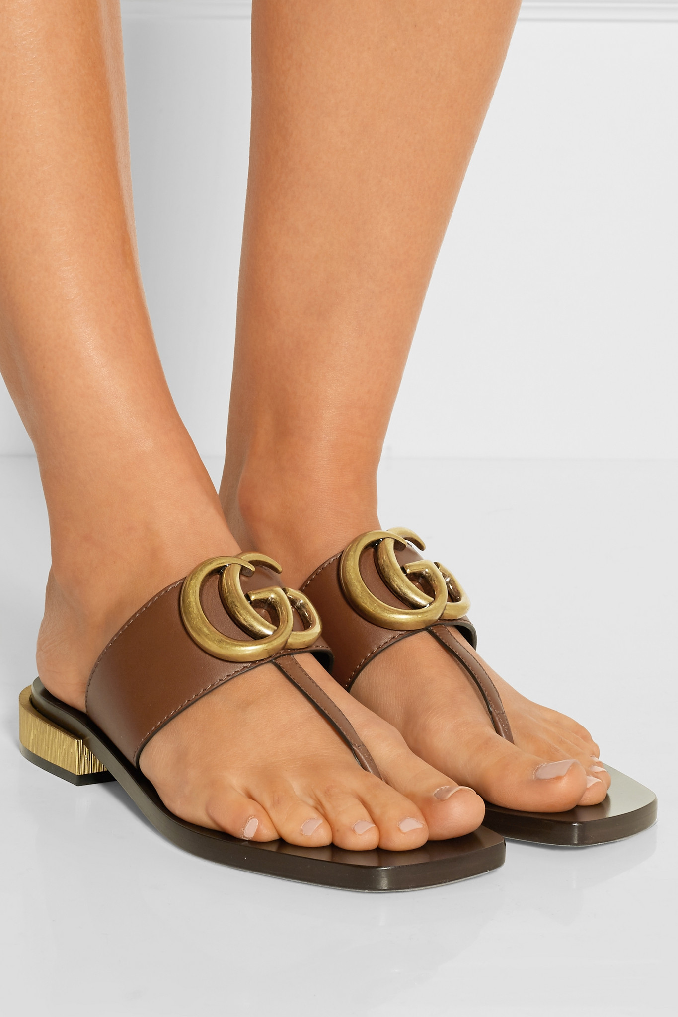 15a7367c06d8e Lyst - Gucci Embellished Leather Sandals in Brown