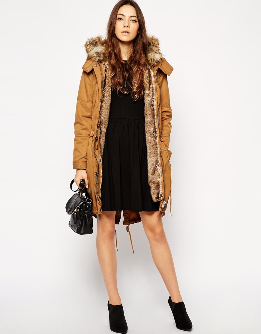 Camel detachable lining parka coat