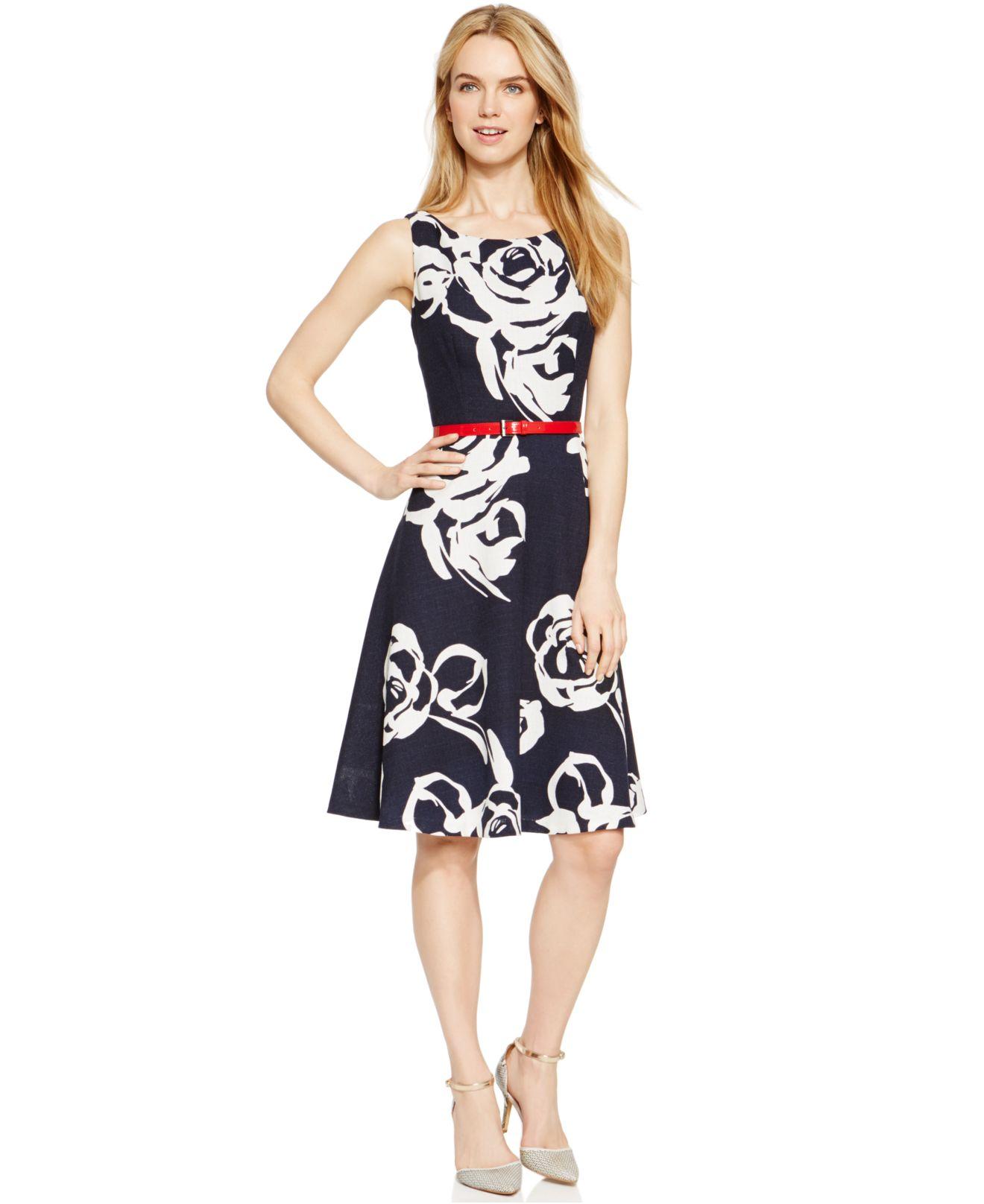 Nine West Floral Print Belted Fit Amp Flare Dress In Blue Lyst