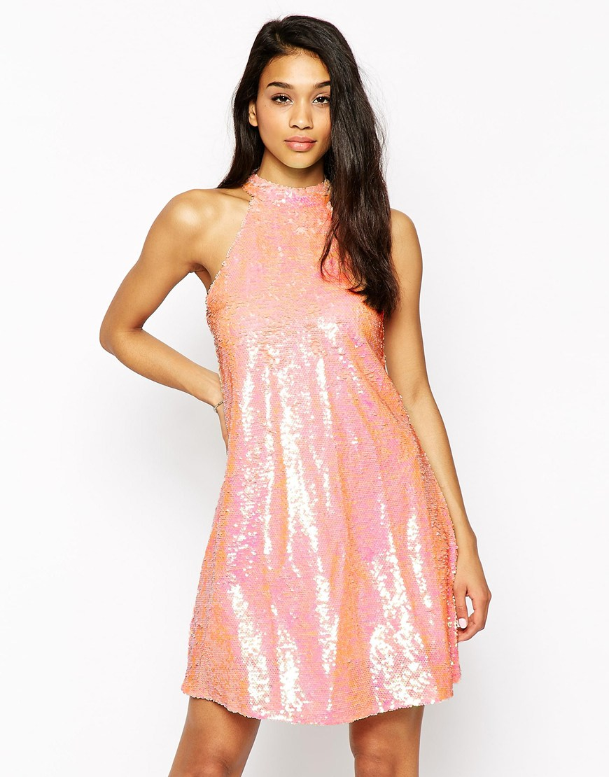 Club l High Neck Swing Dress In Sequins in Pink | Lyst