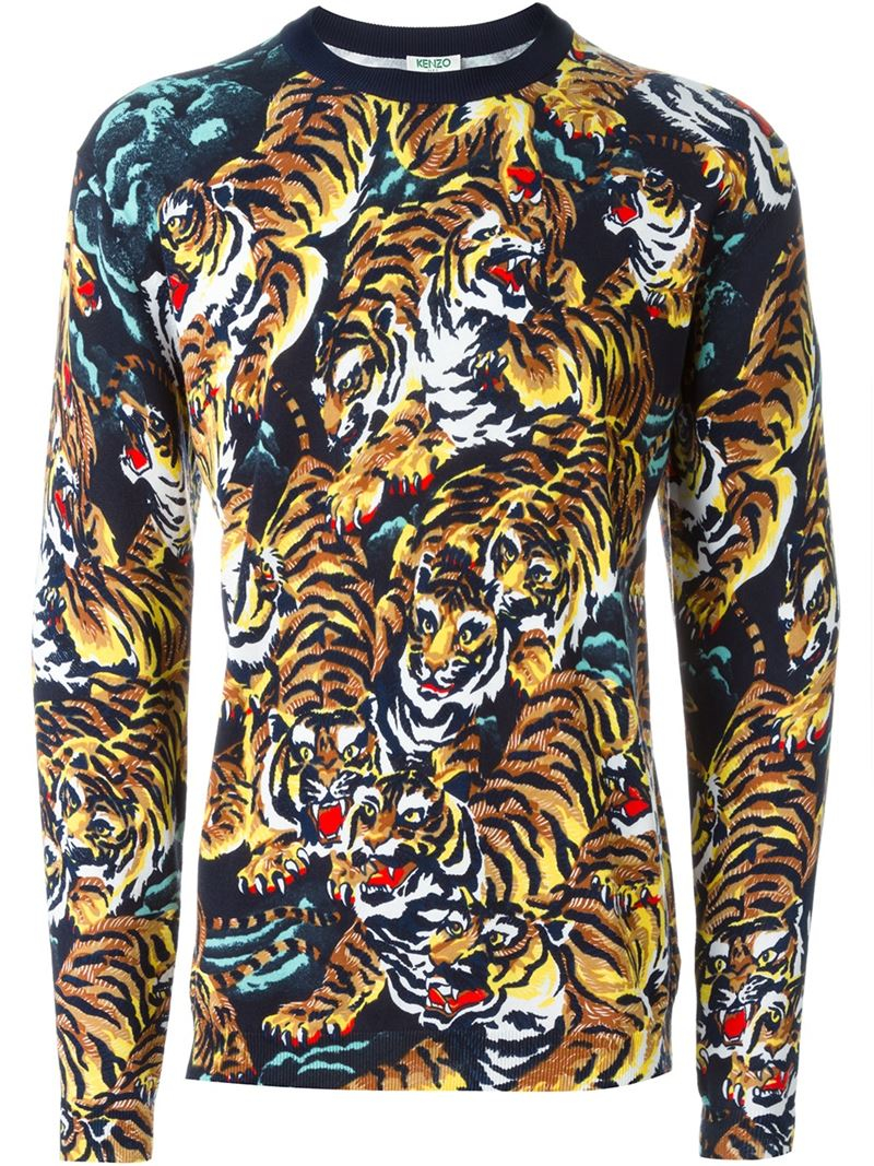 8bbdfa13b0da Lyst - KENZO  flying Tiger  Sweater in Black for Men
