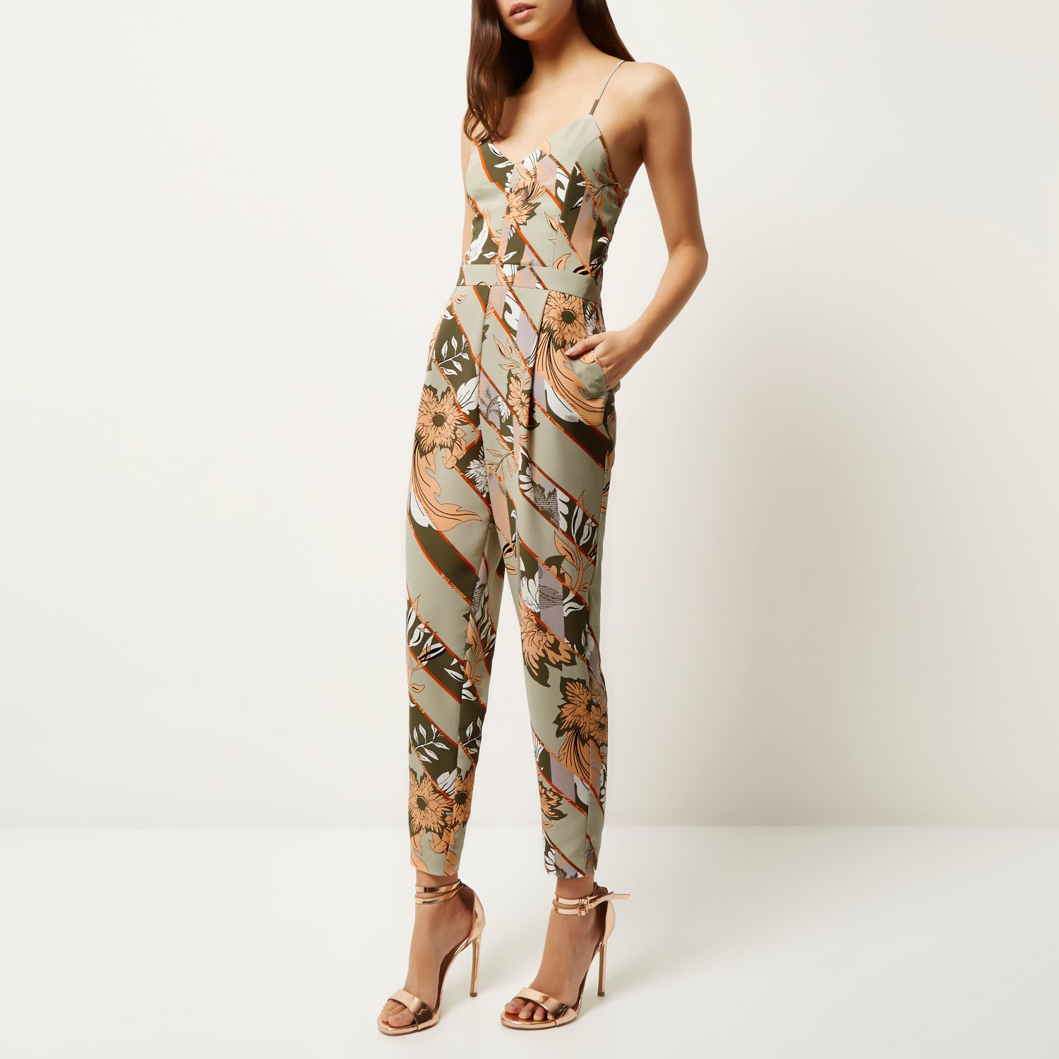 7f877d09877f Lyst - River Island Green Floral Print Tapered Jumpsuit In Green