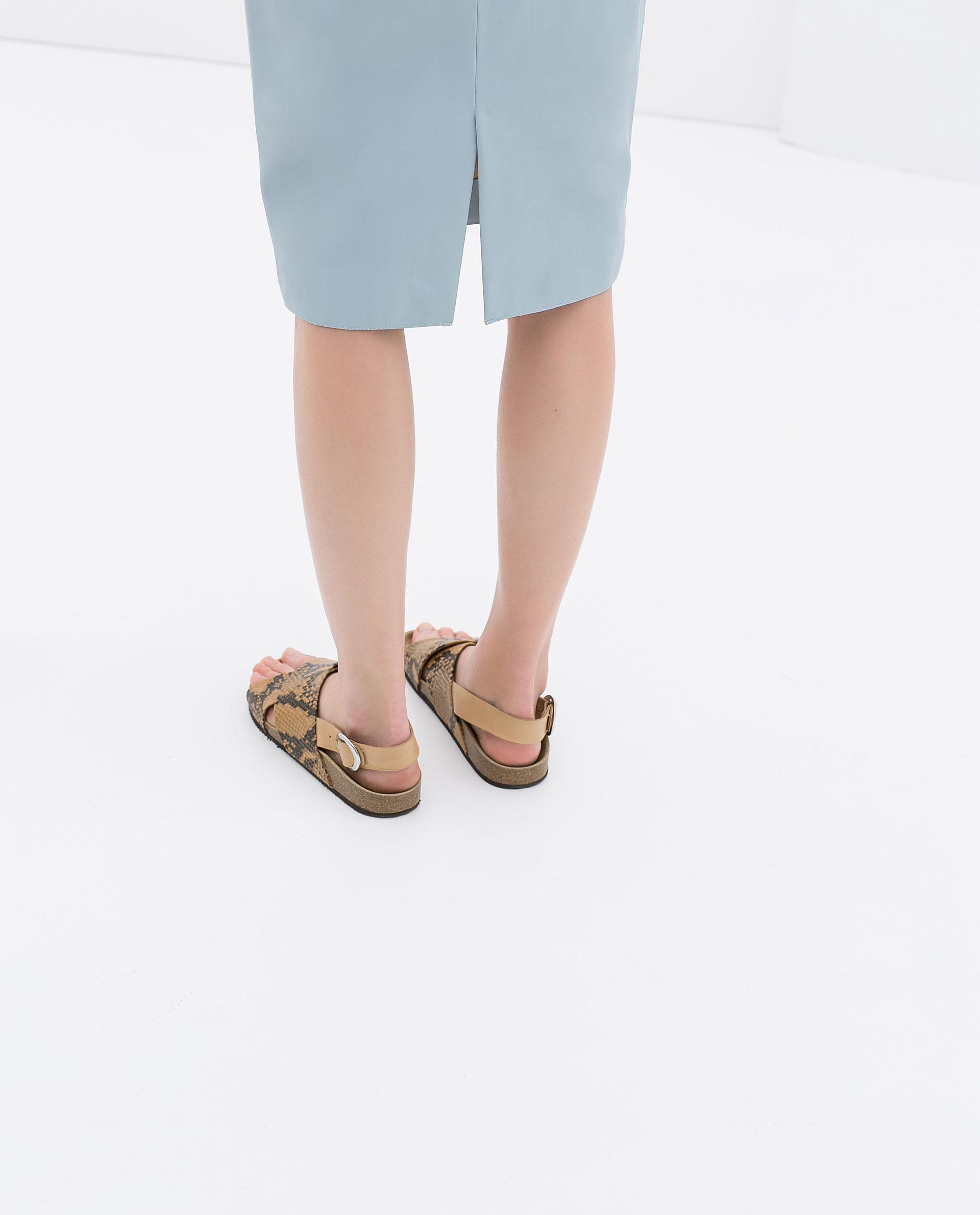 zara faux leather skirt in blue lyst