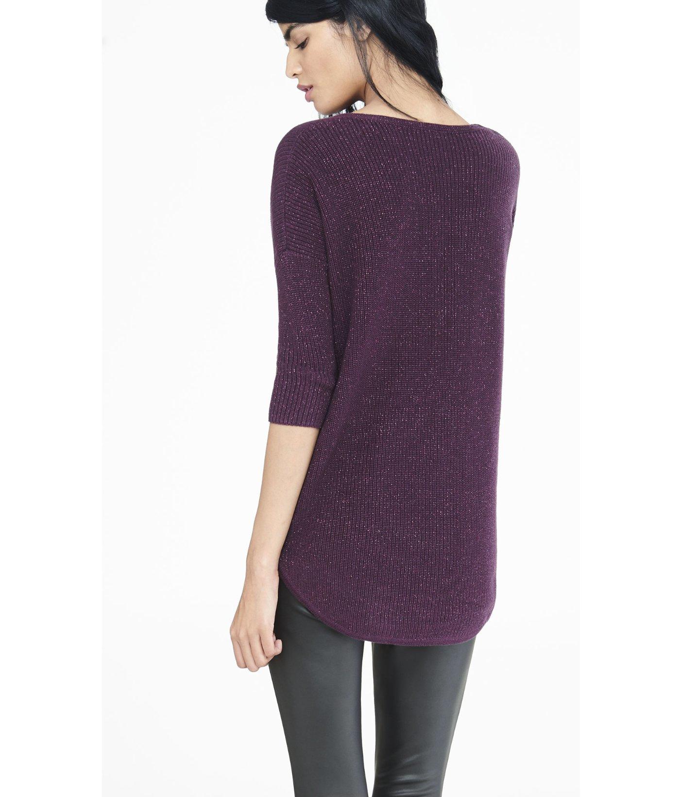 Express Currant Metallic London Tunic Sweater in Purple | Lyst