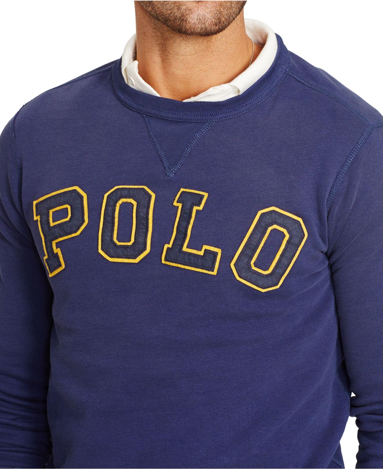 Polo ralph lauren Fleece Crewneck Sweatshirt in Blue for Men | Lyst