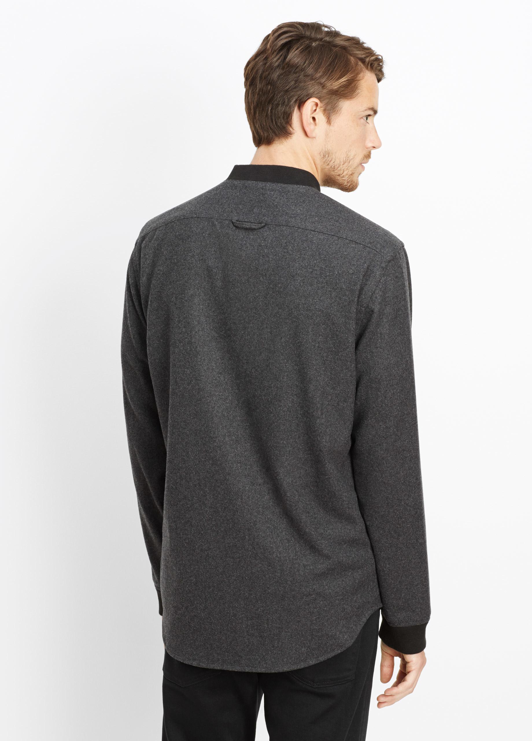 Vince melrose wool flannel shirt jacket in gray for men lyst for Mens wool flannel shirt