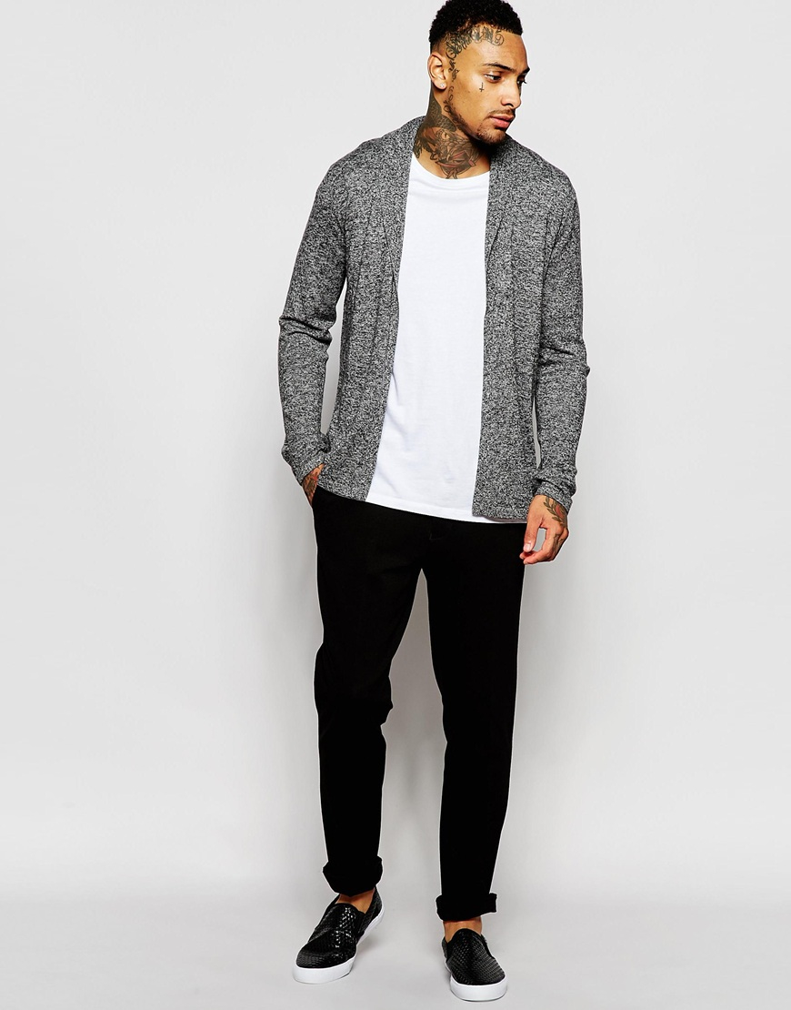 Asos Open Shawl Cardigan In Merino Wool Mix in Gray for Men | Lyst