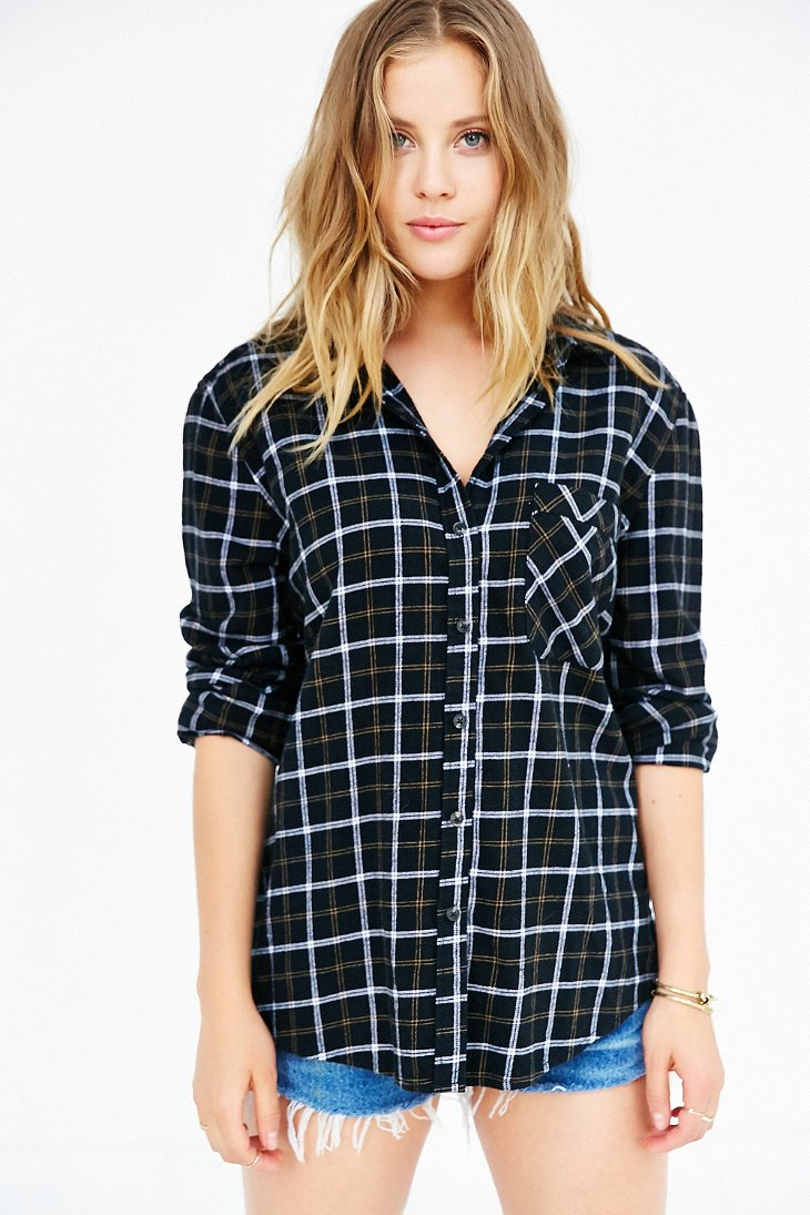 Bdg olly checked print flannel shirt in black lyst for White and black flannel shirt womens