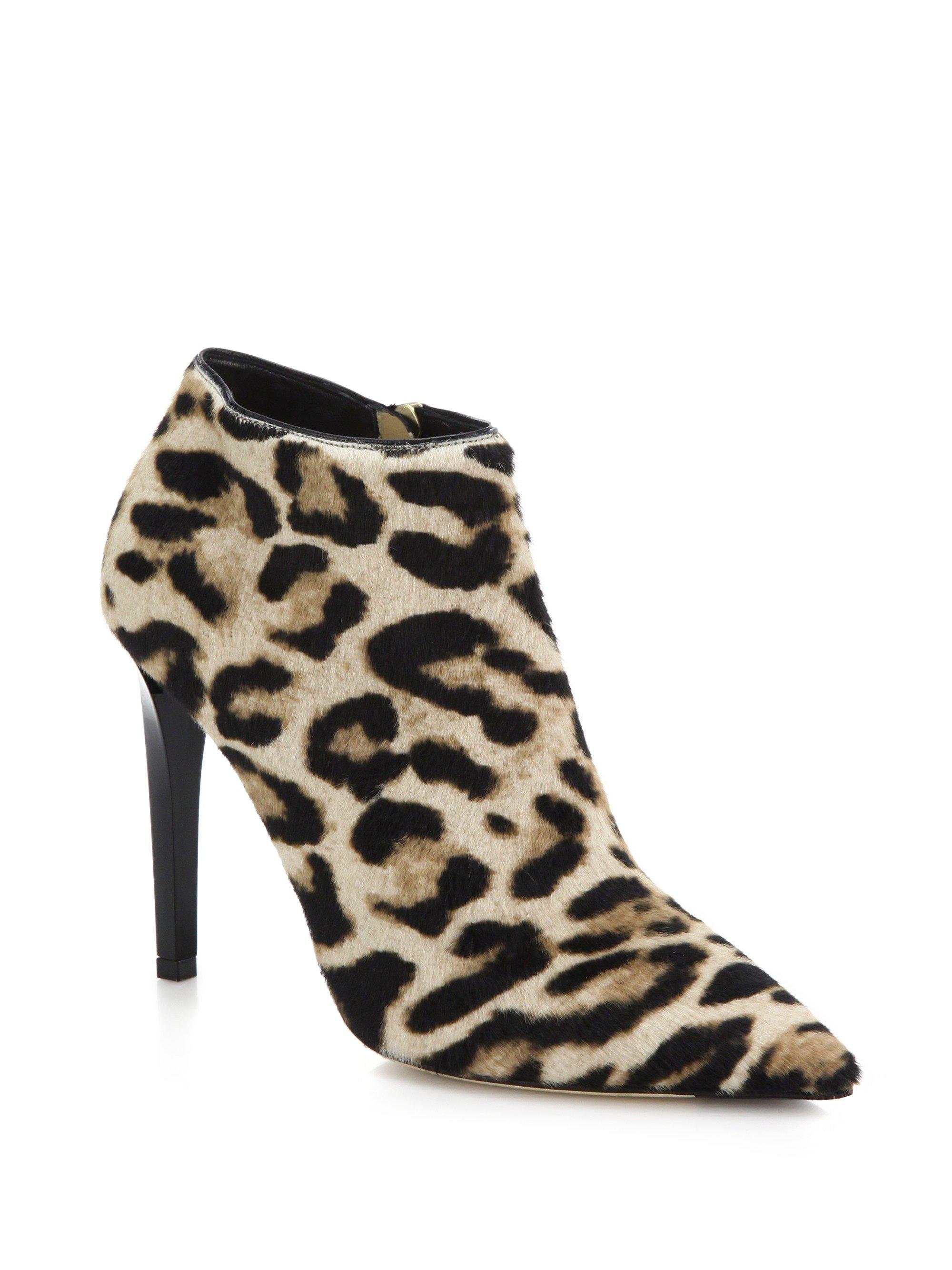 ee6861a86a6 ... sale lyst jimmy choo liesl leopard print calf hair booties in natural  76909 58b19