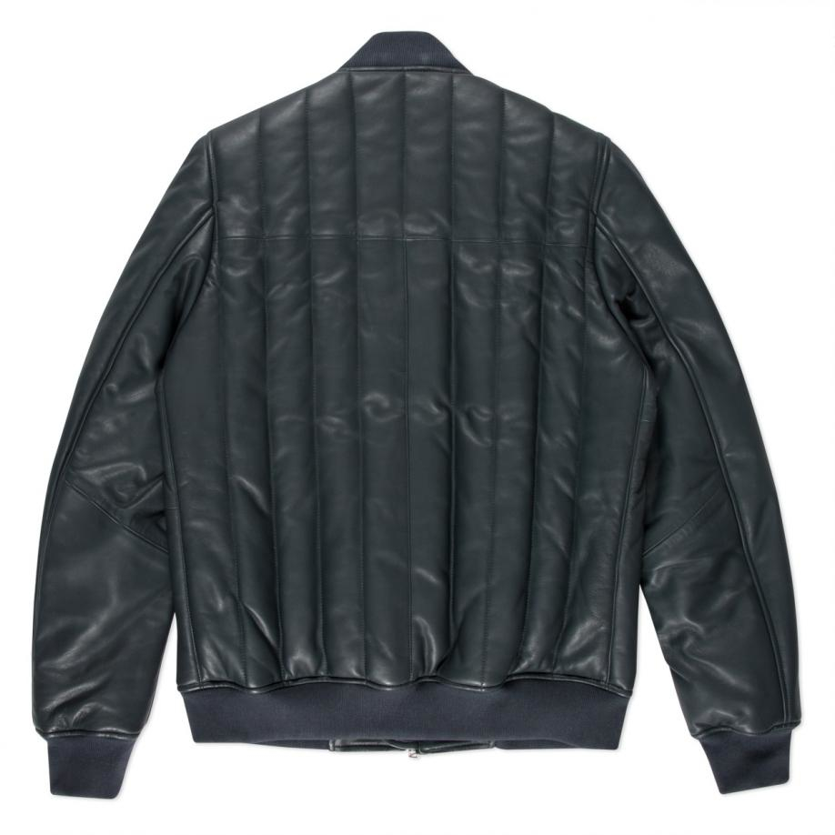 Paul smith Men's Slate Grey Quilted Leather Bomber Jacket in Gray ...