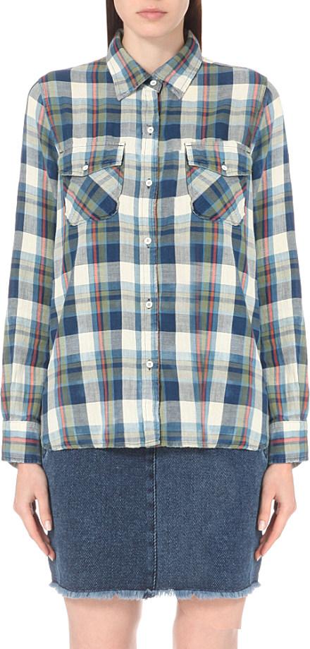 Current Elliott Green Checked Cotton Shirt Women 39 S