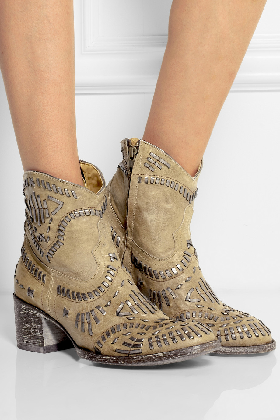 Mexicana Apache Embroidered Distressed Leather Ankle Boots