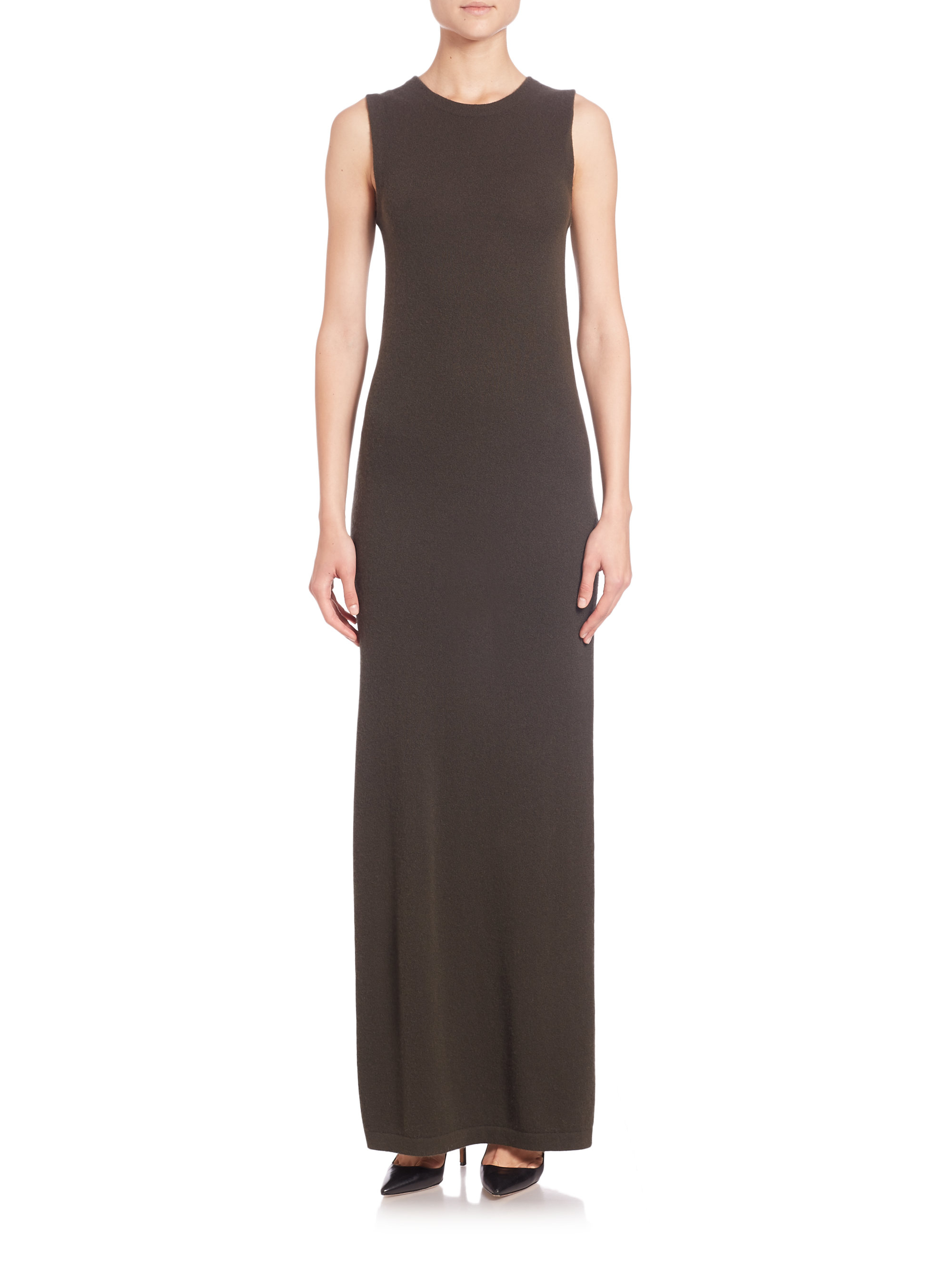 Theory Dorada Cashmere Sleeveless Maxi Dress in Black | Lyst