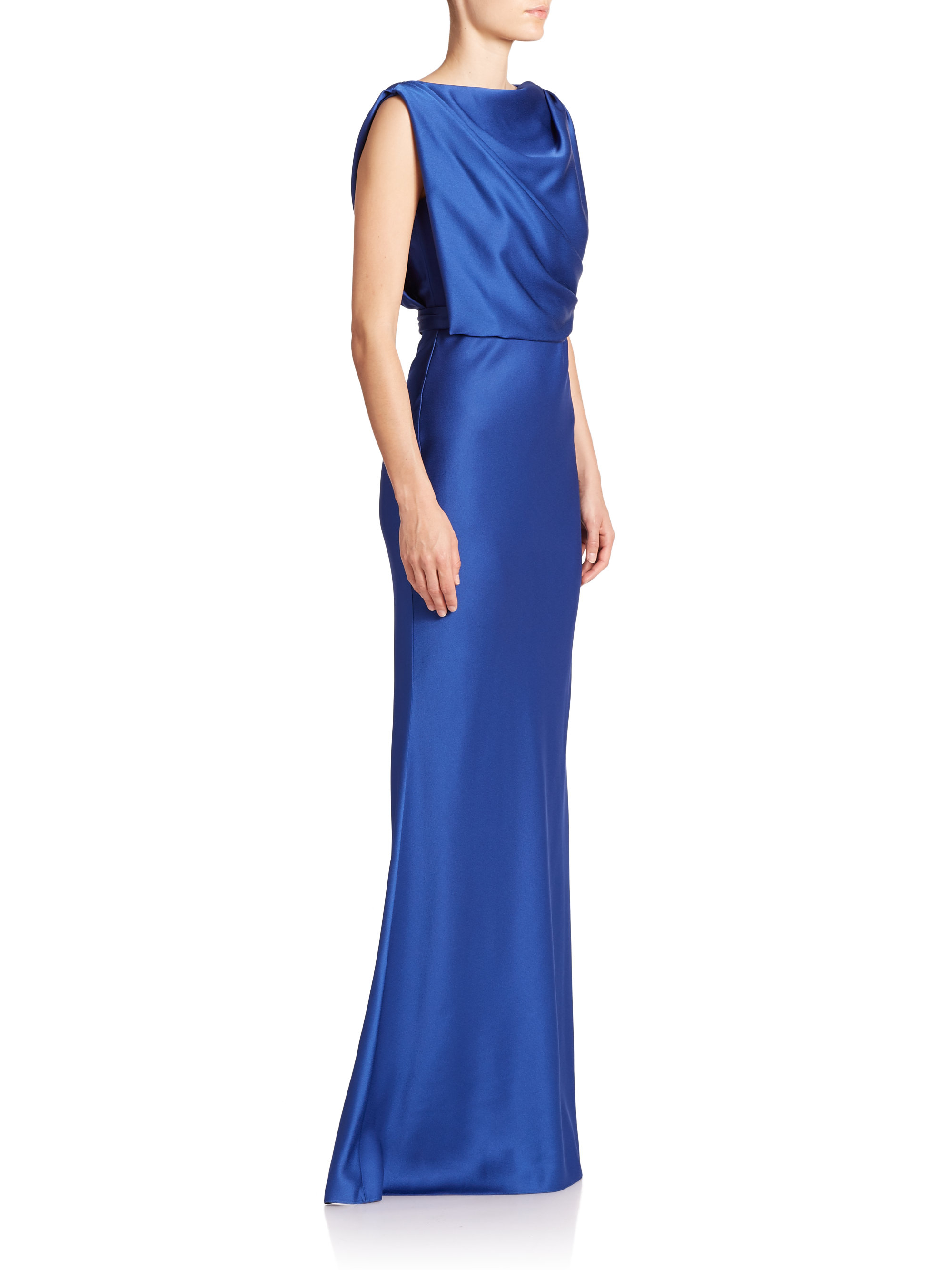 Jason WuWomen's Blue Draped Satin Gown