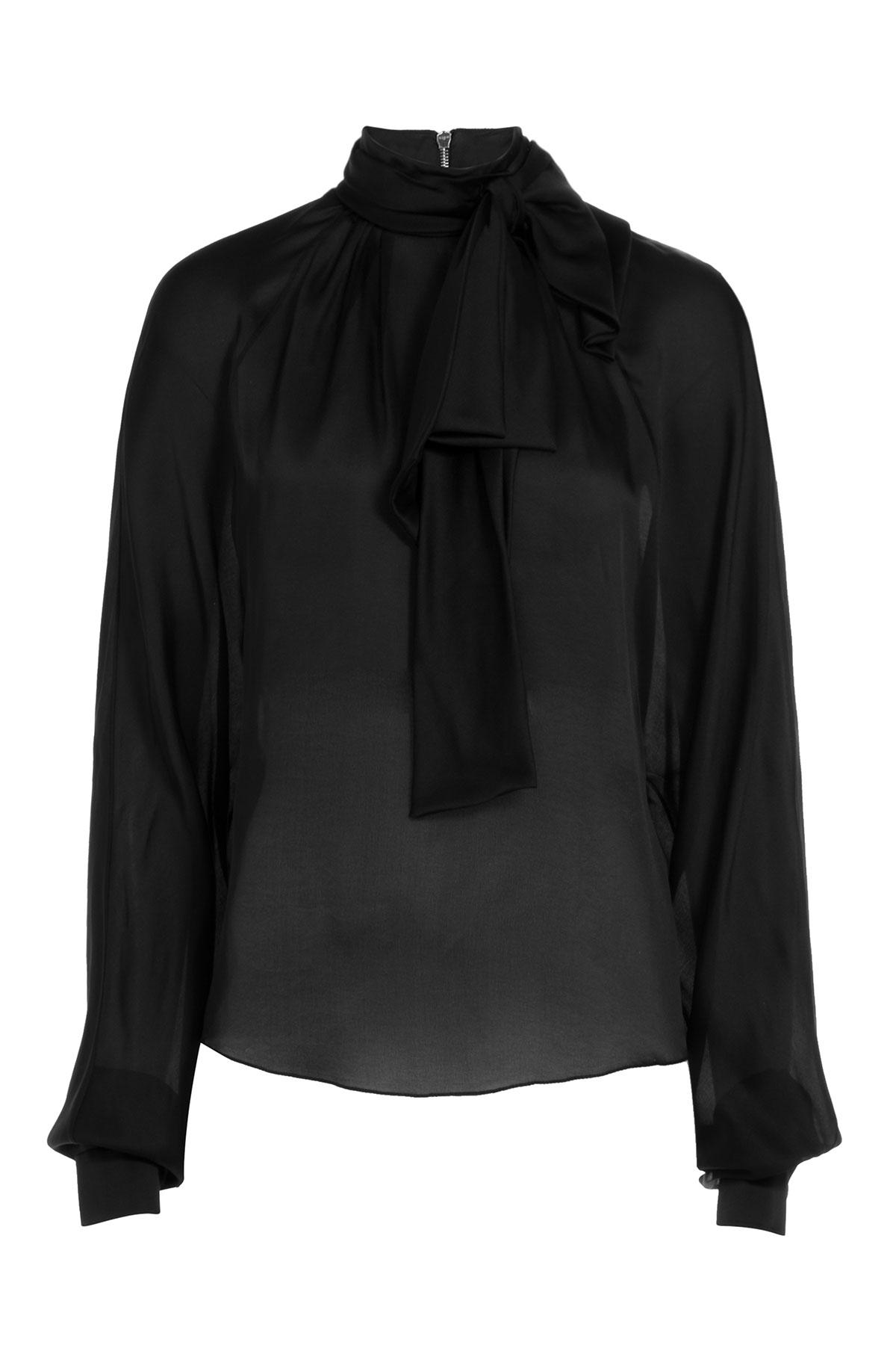 Balmain Tie-neck Silk Blouse - Black in Black   Lyst