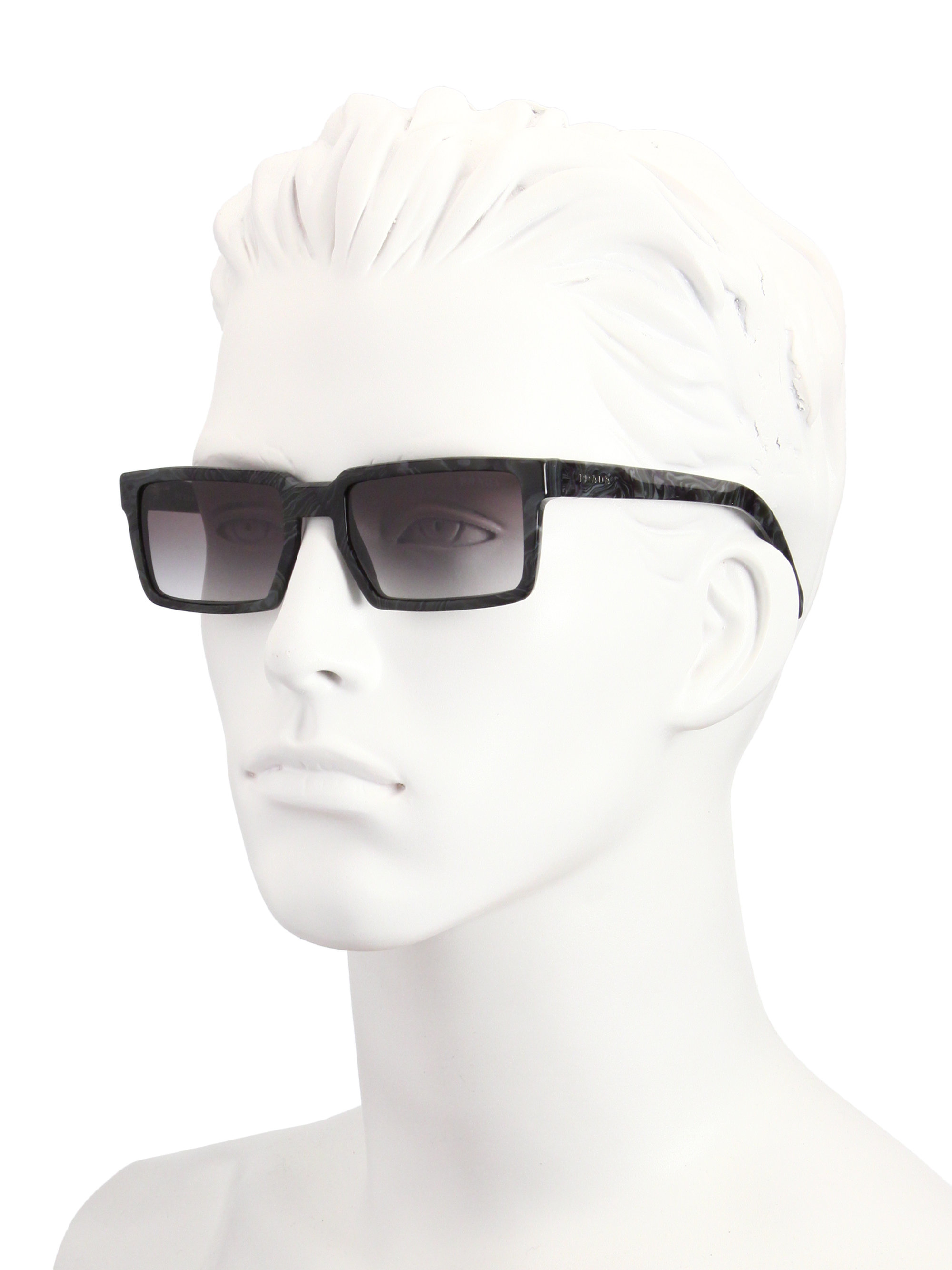 c13ee4dc778b ... reduced lyst prada 54mm rectangle acetate sunglasses in black for men  37b1f 957ac