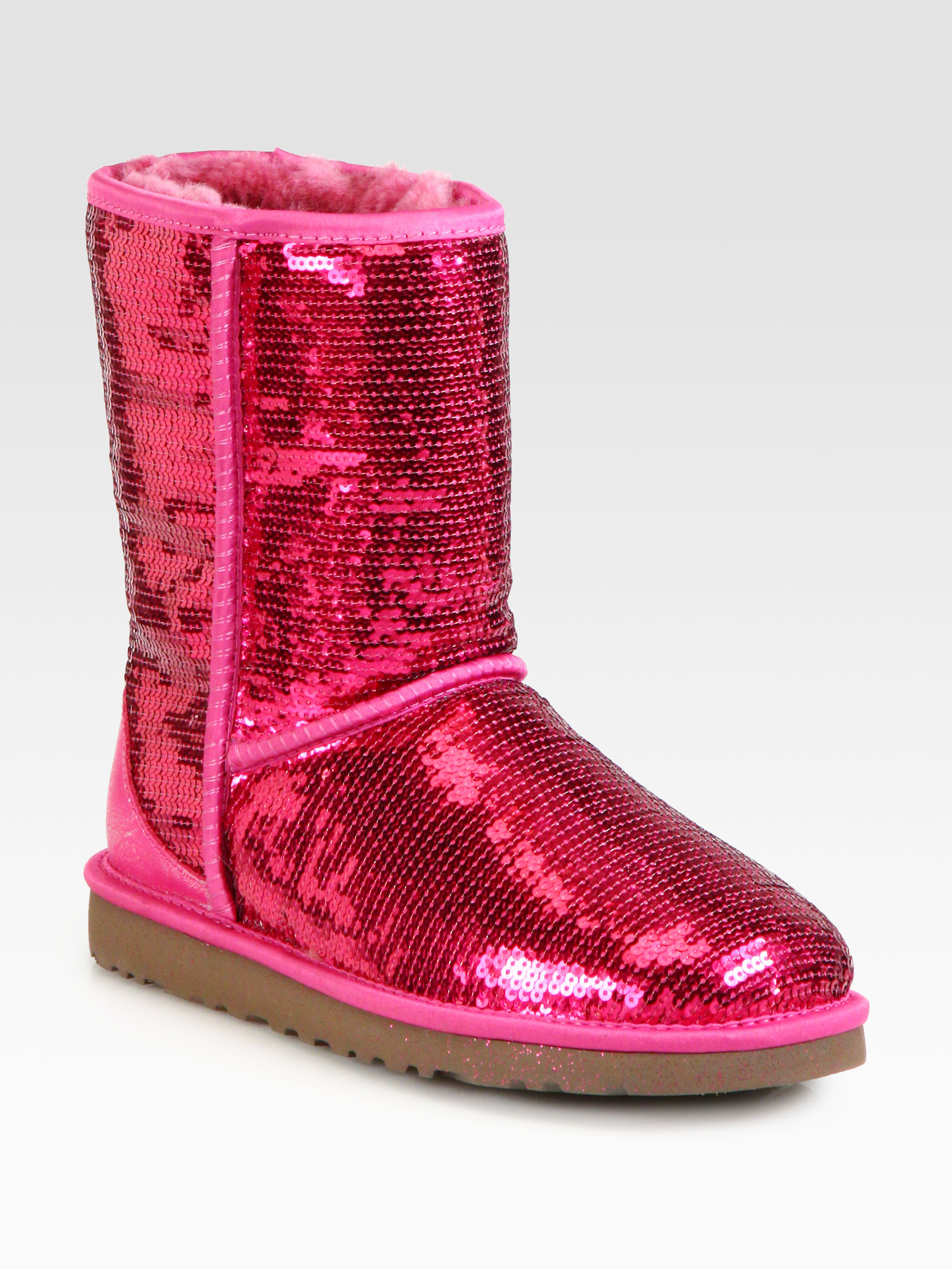 Lyst Ugg Classic Short Sequin Boots In Pink