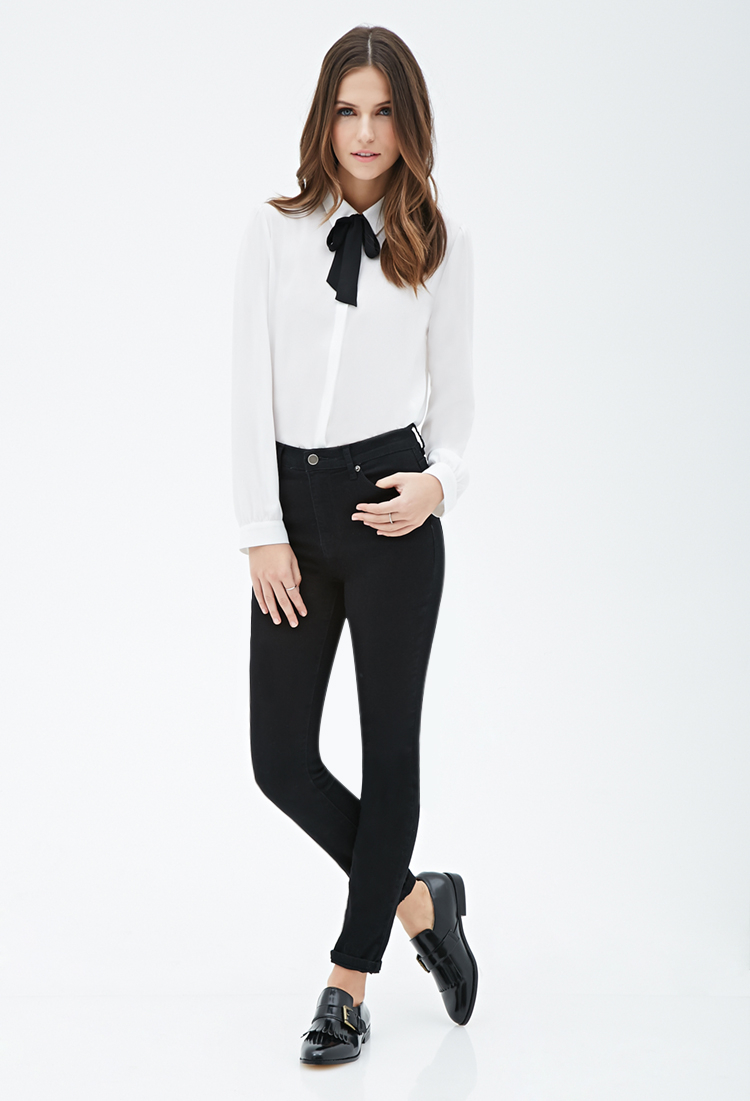 427e419e435 Forever 21 Self-tie Collared Blouse in Natural - Lyst