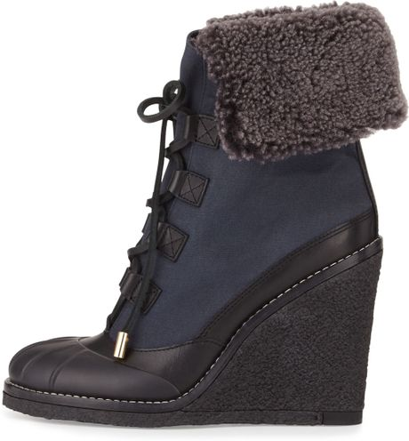 burch fairfax fur lined wedge boots in black black