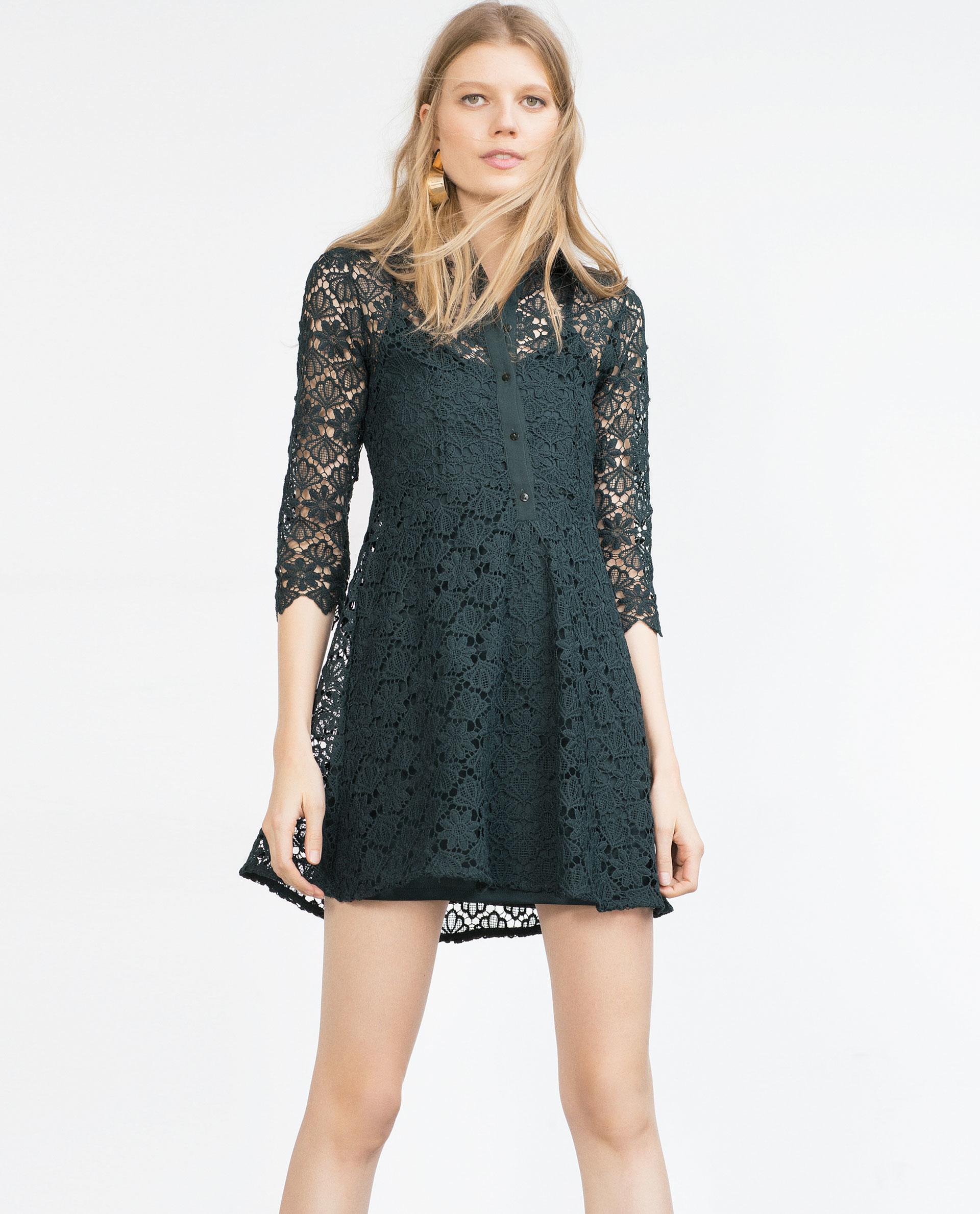 Zara shirt dress in green lyst for Zara black t shirt dress