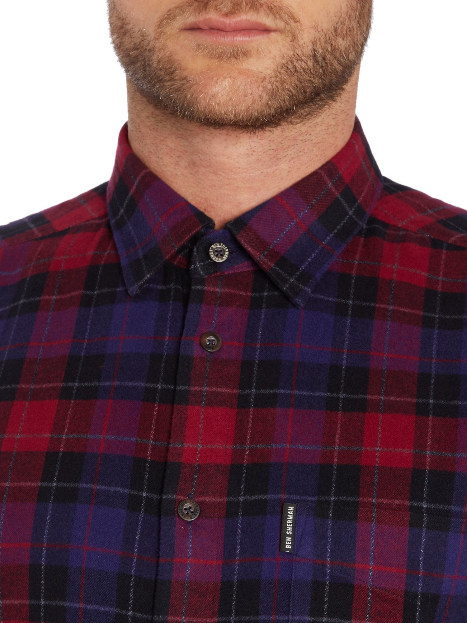 Ben Sherman Brushed Tartan Check Shirt In Red For Men Lyst