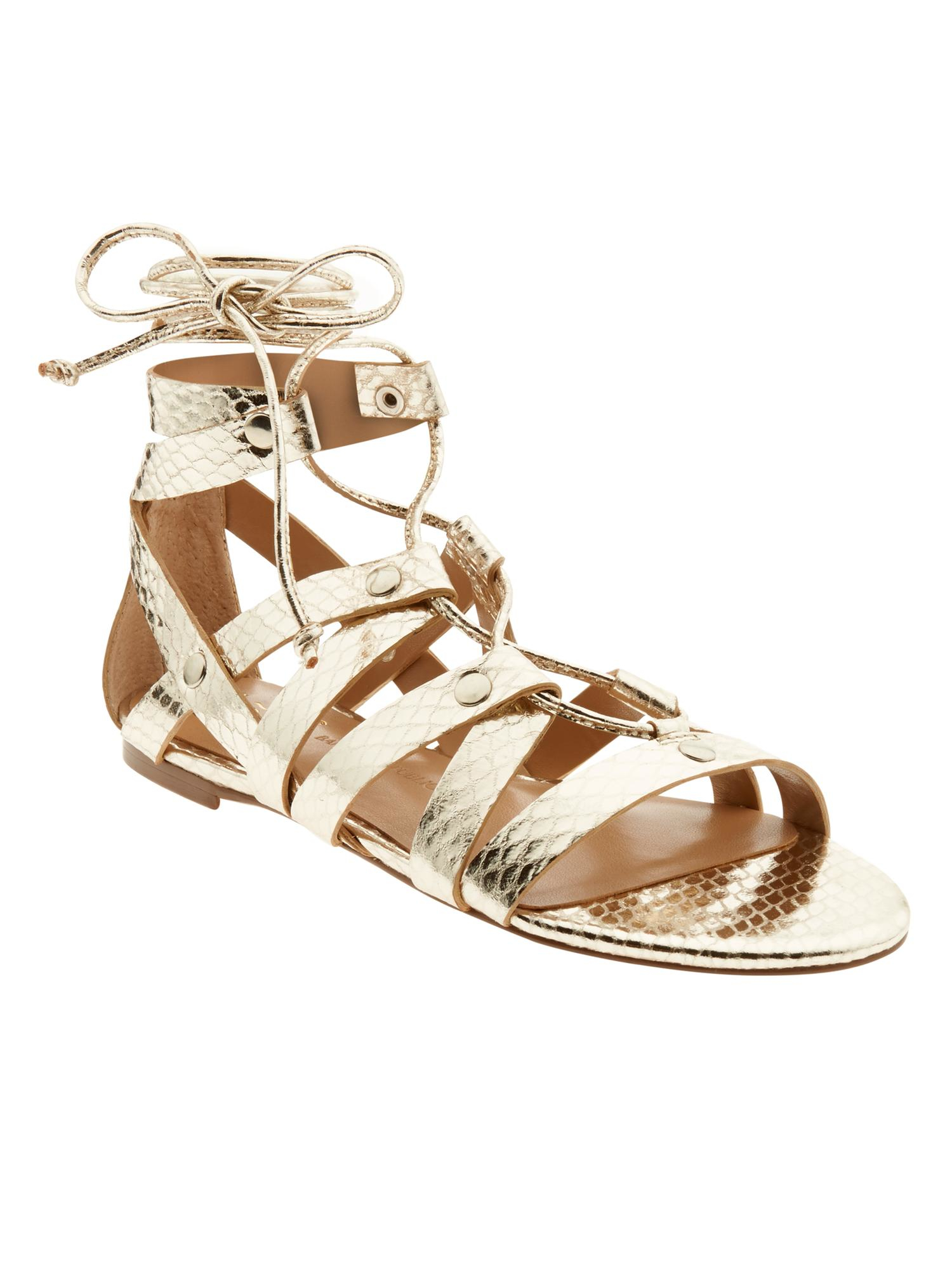 bc501d45f03 Lyst - Banana Republic Telly Lace-up Sandal in Metallic