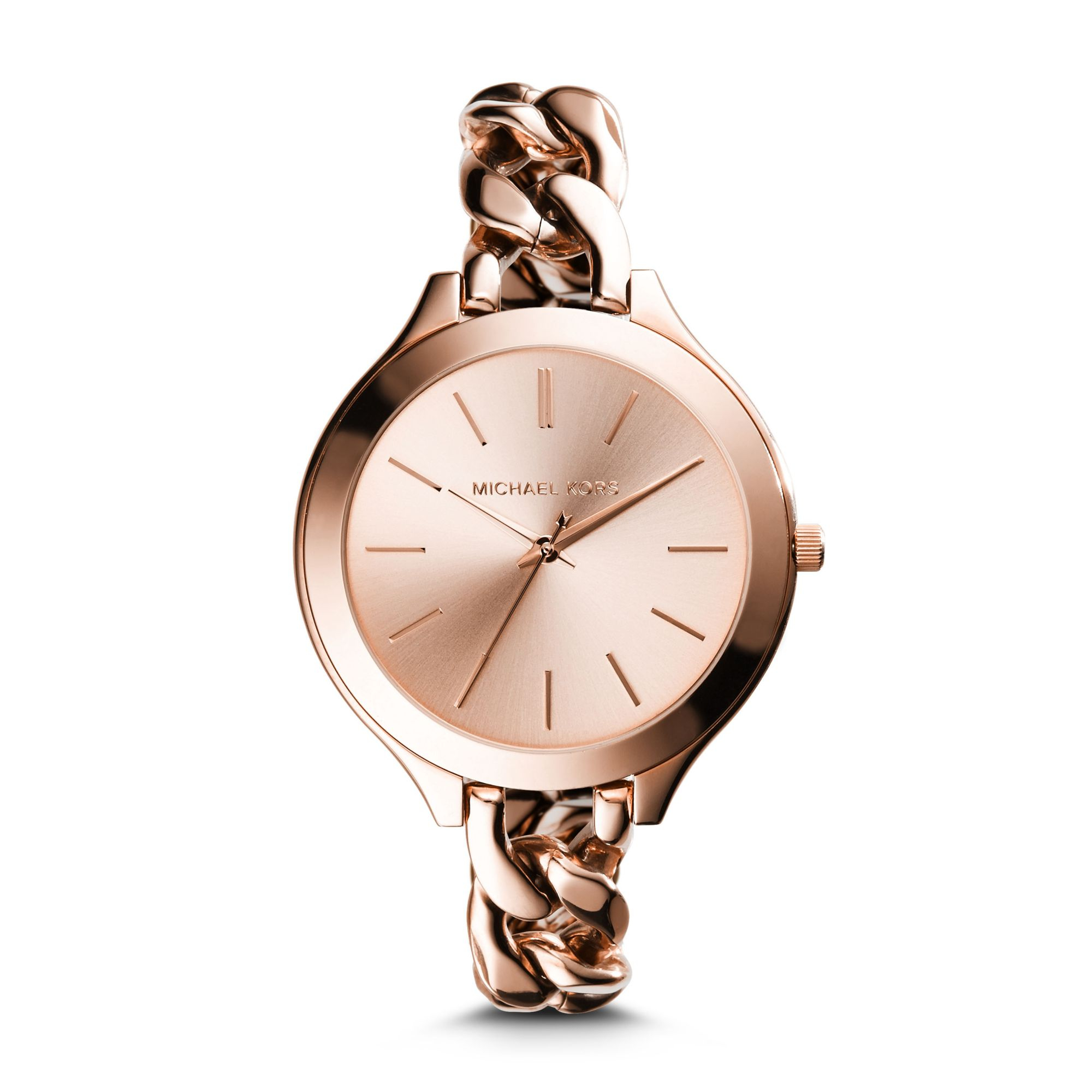 4d7f2ed6e98c Michael Kors Slim Runway Rose Gold-tone Chain-link Watch in Pink - Lyst