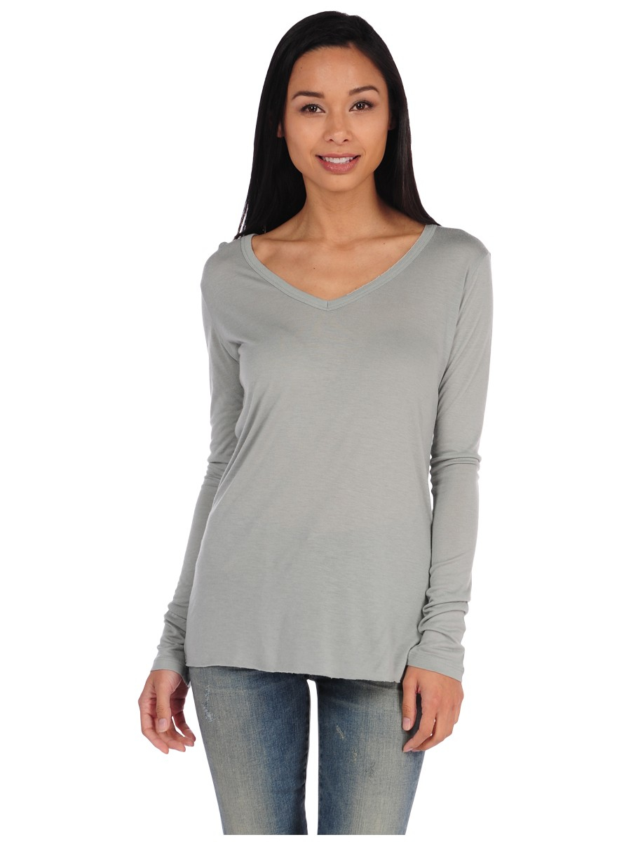 Majestic Modal Cashmere Long Sleeve V Neck Tee In Gray