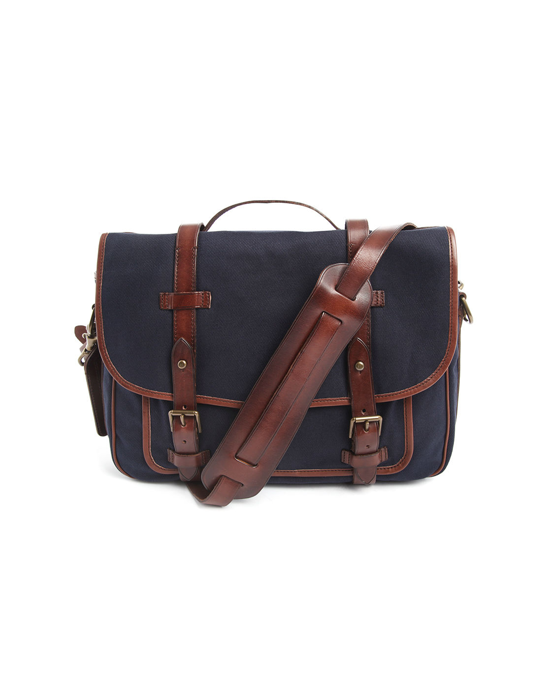 Polo Ralph Lauren | Messenger Bag Leather And Canvas Navy Blue | Lyst