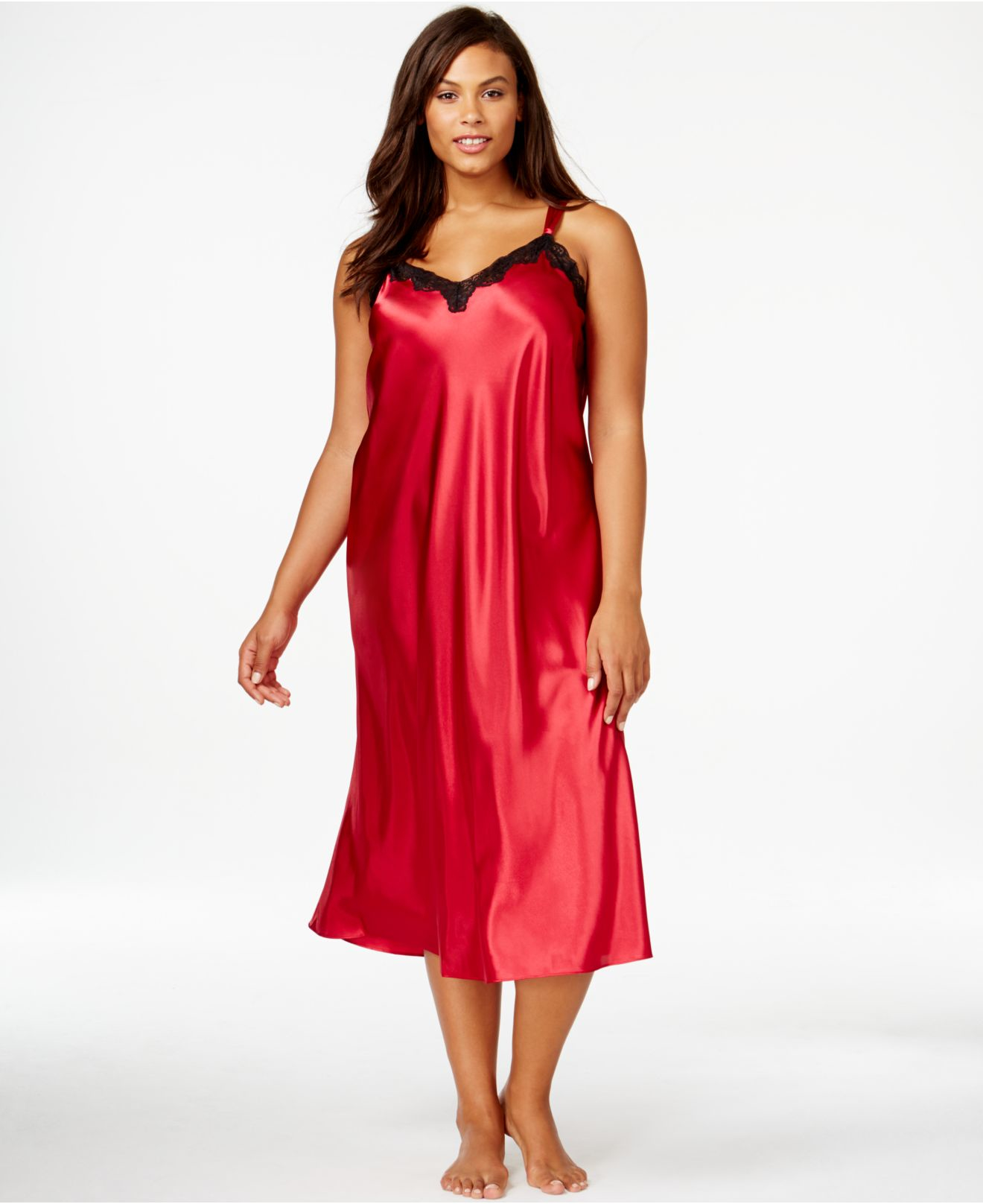 Lyst - Morgan Taylor Plus Size Satin Nightgown in Red