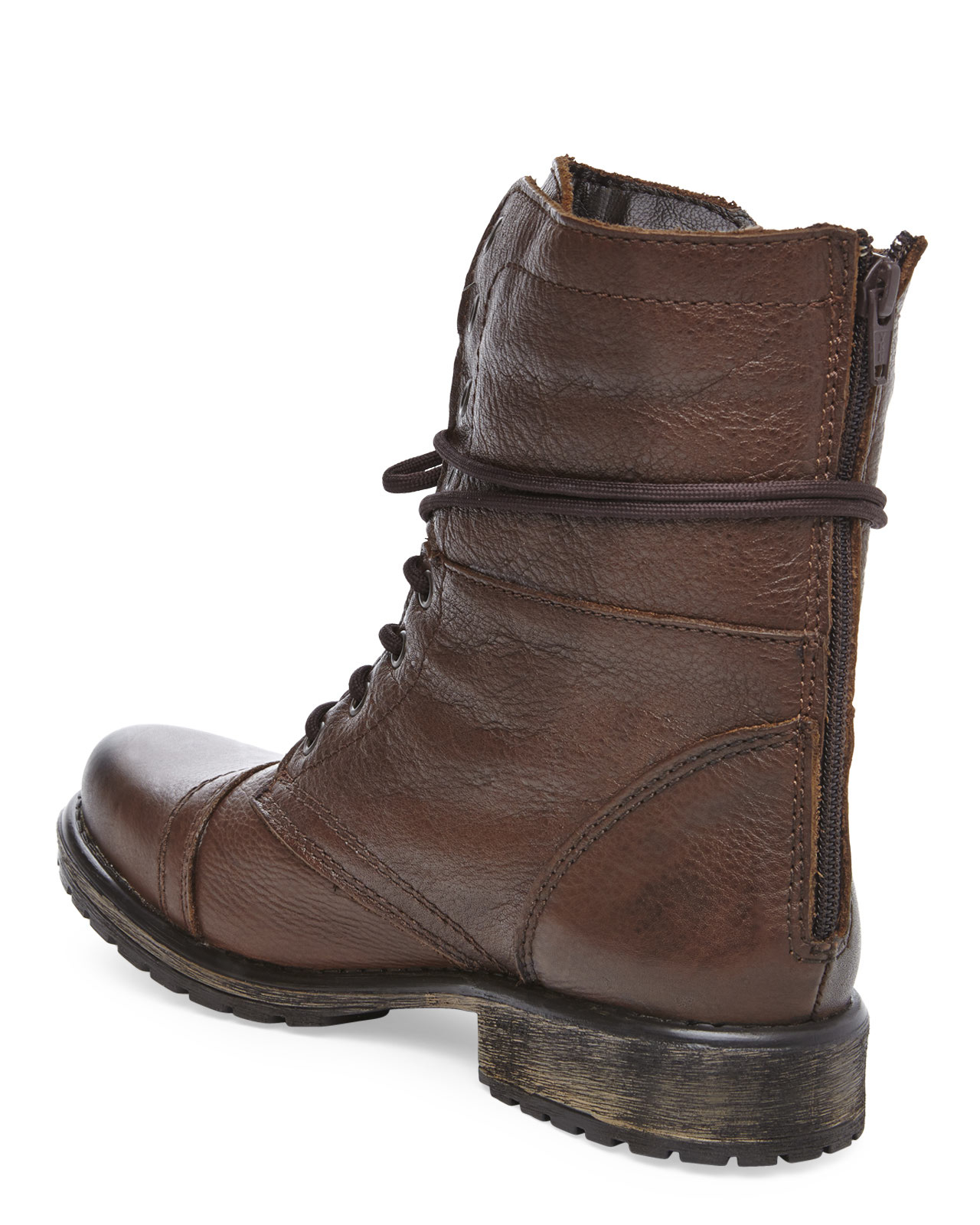 Steve madden Brown Fame Combat Boot in Brown | Lyst