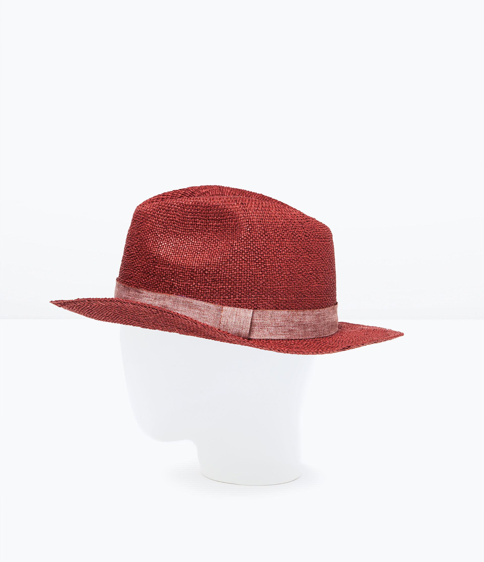 zara woven hat in purple lyst