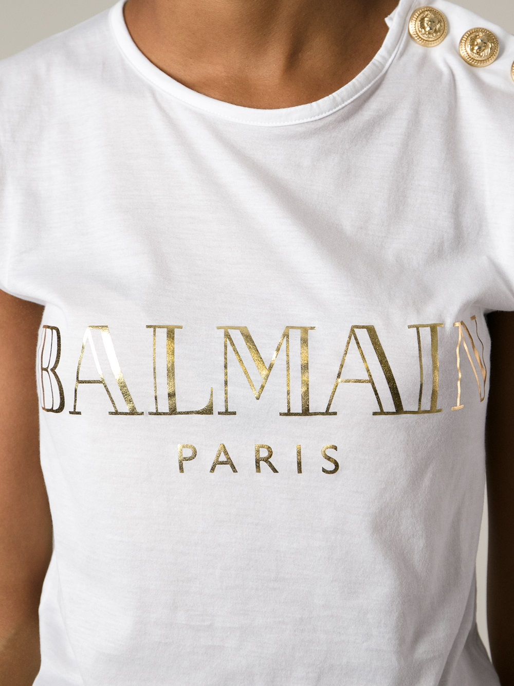 balmain brand print t shirt in white lyst. Black Bedroom Furniture Sets. Home Design Ideas