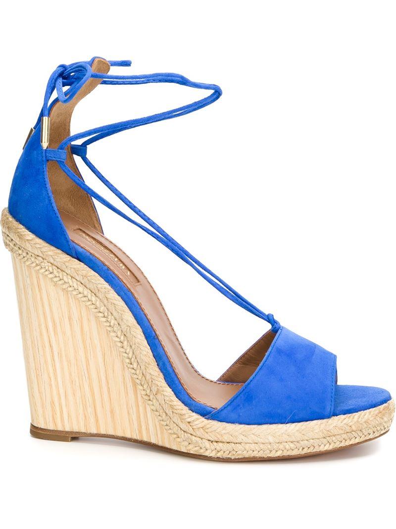 aquazzura wedge espadrille sandals in blue lyst