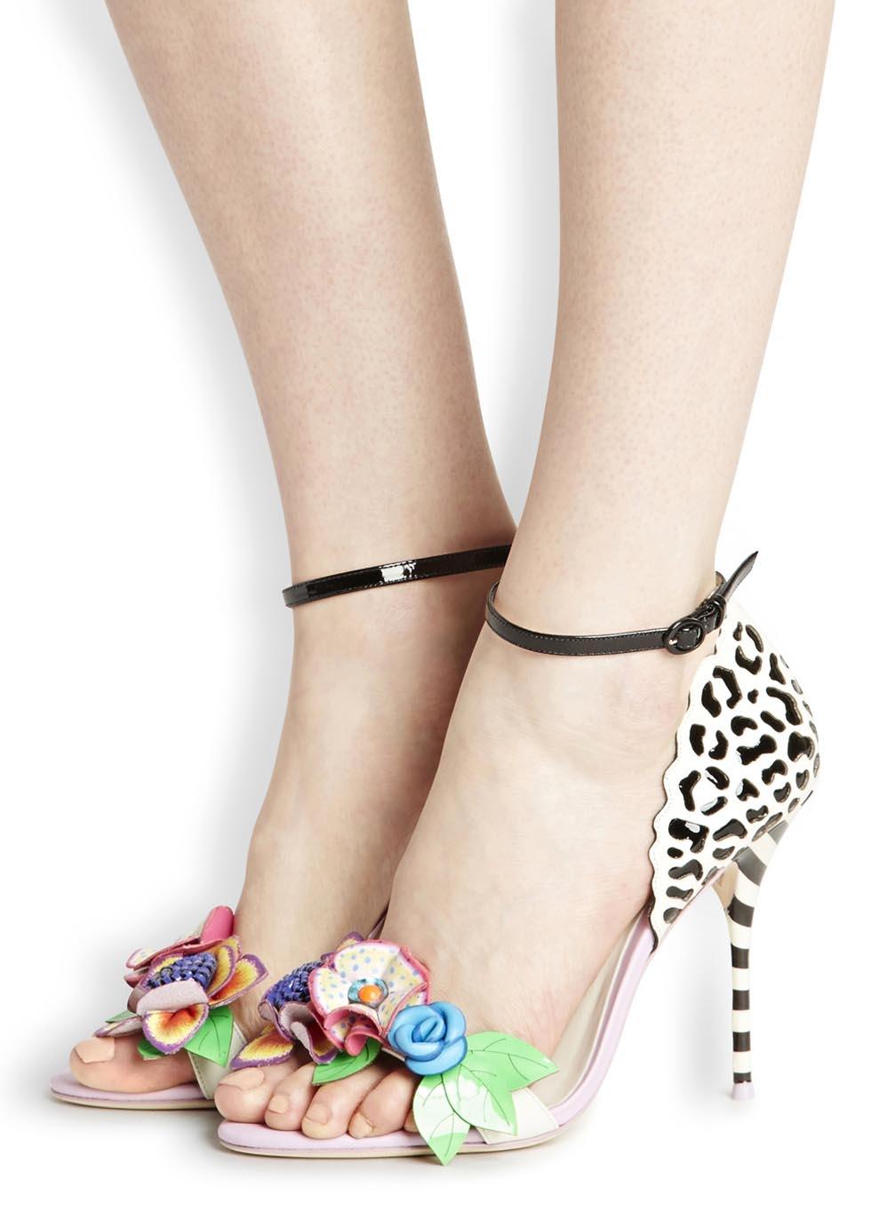 f4e84107f362 Sophia Webster Lilico Jungle Floral Appliqué Leather Sandals - Lyst