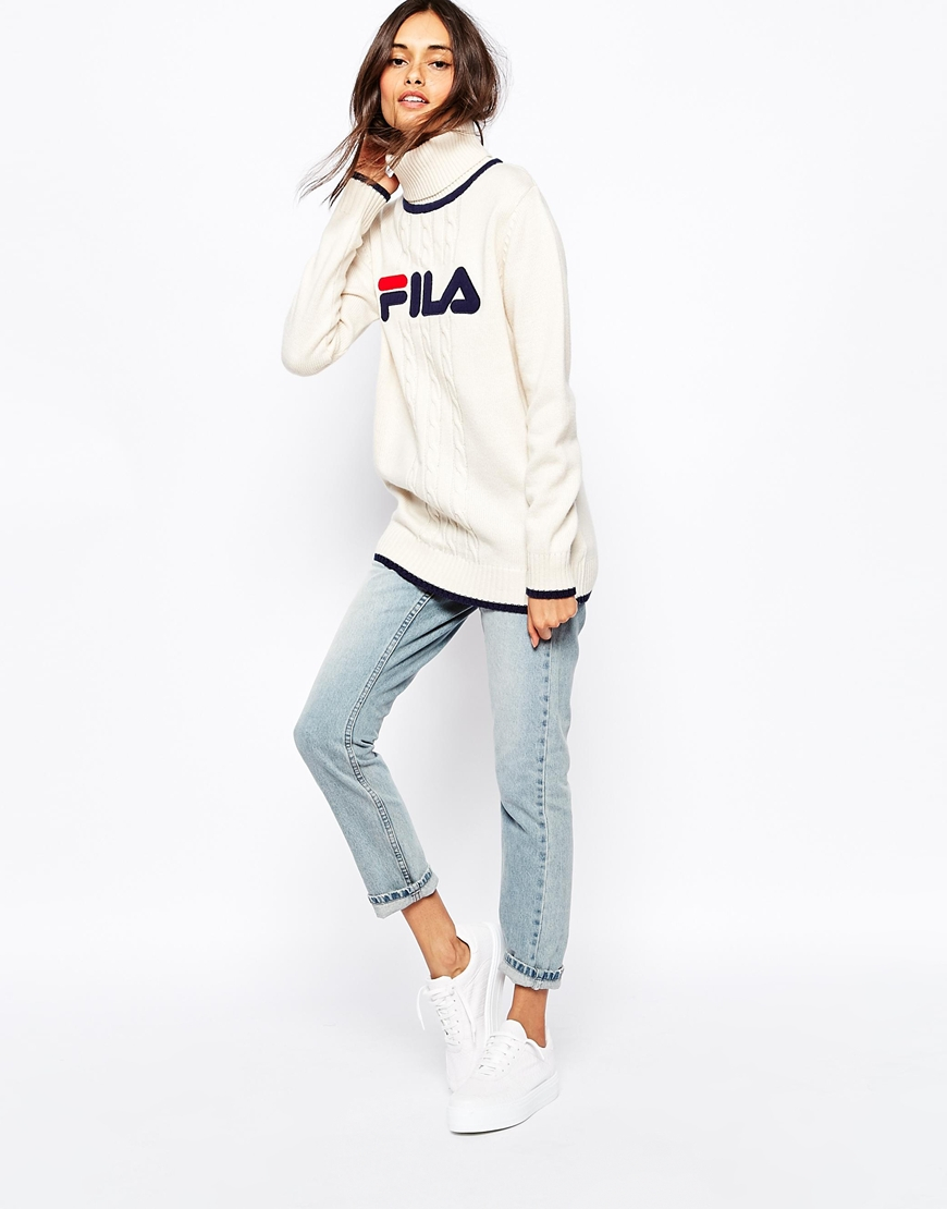 999daddaec11 Lyst - Fila High Neck Oversized Jumper With Front Logo in Natural