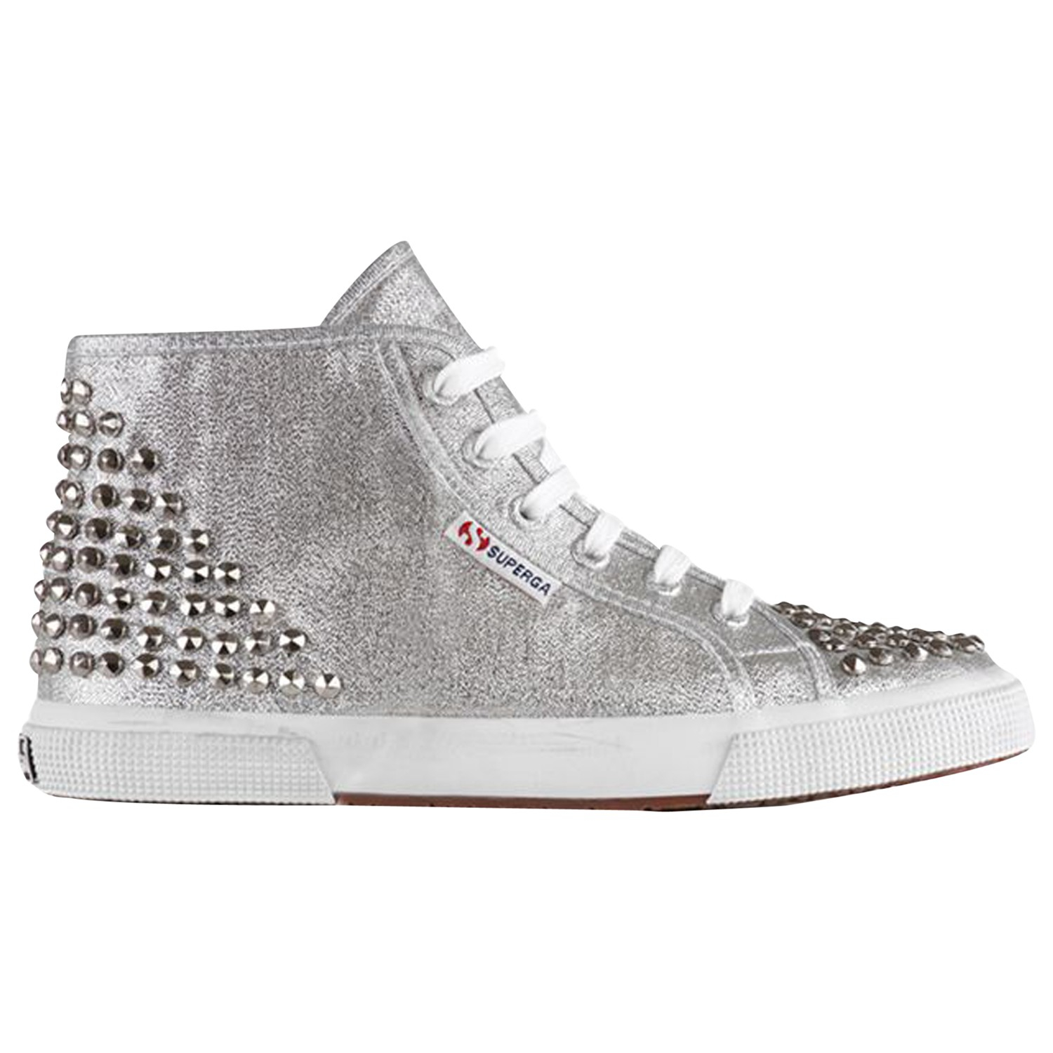 superga womens lamew studded high top trainers in silver lyst. Black Bedroom Furniture Sets. Home Design Ideas