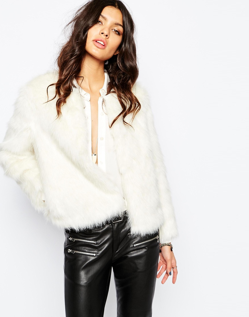 69b9e987cd6 Lyst - Mango Winter White Faux Fur 70 s Glam Coat in Natural