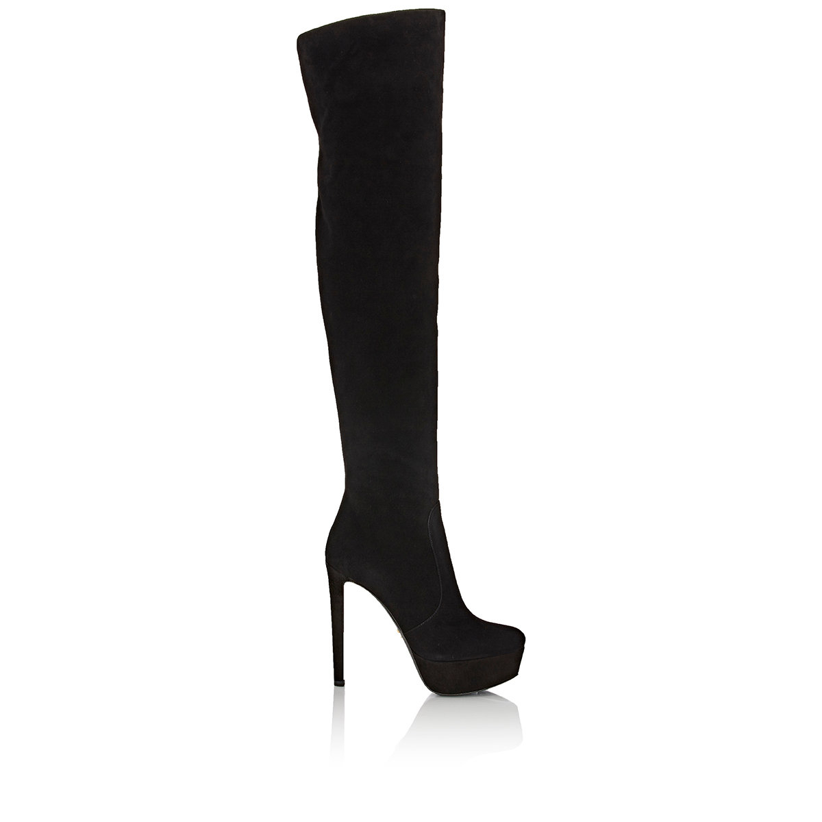 b073dd3c6ab Lyst - Prada Women s Suede Over-the-knee Platform Boots in Black