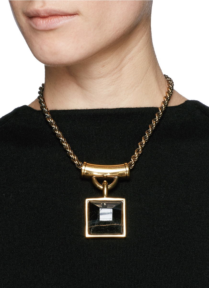 Lyst Alexander Mcqueen Tiger Eye Square Pendant Necklace