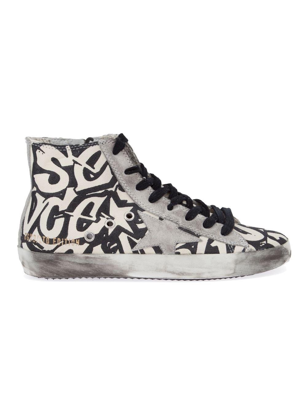golden goose deluxe brand graffiti print hi top sneakers in white lyst. Black Bedroom Furniture Sets. Home Design Ideas