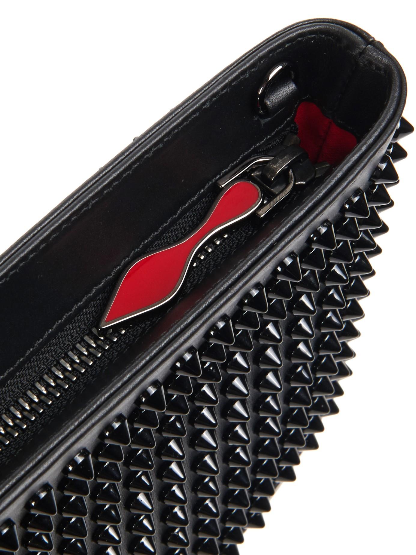 1049d24ba8edd Lyst - Christian Louboutin Loubiposh Spikes Leather Pouch in Black