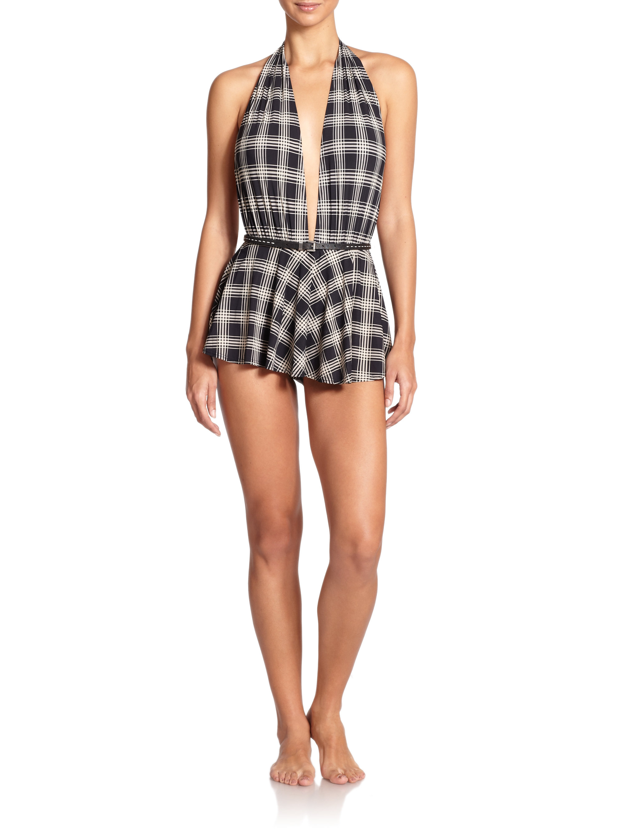 michael kors one piece belted skirted maillot swimsuit lyst. Black Bedroom Furniture Sets. Home Design Ideas