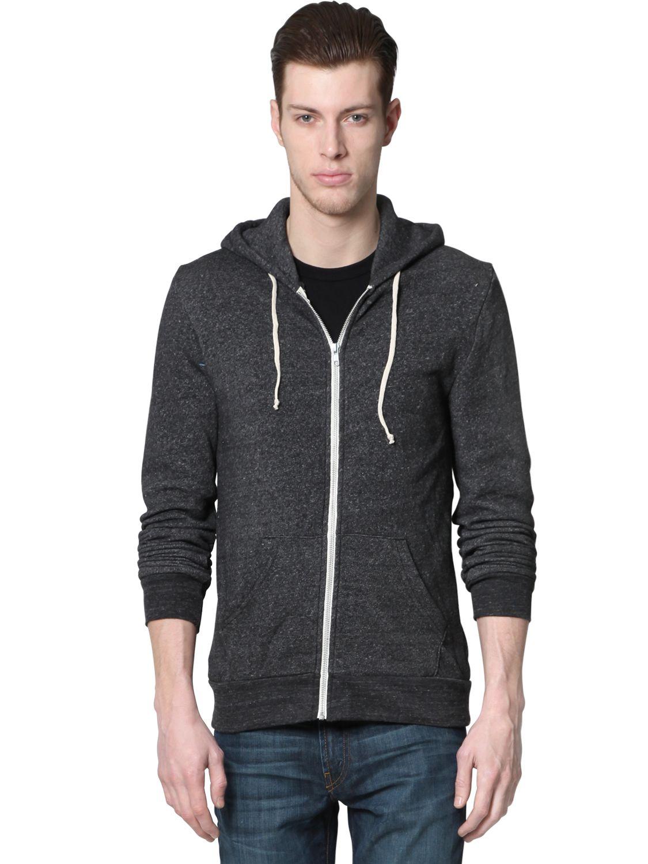fb4bb429 Alternative Apparel Rocky Eco Fleece Zip Hoodie Sweatshirt in Black ...