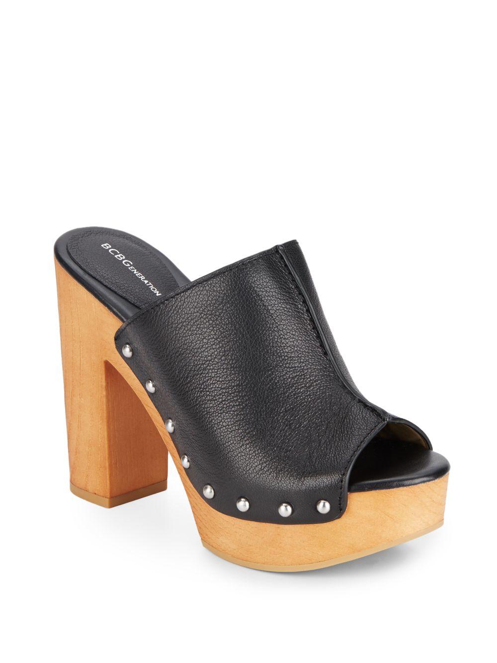 Lyst Bcbgeneration Karen Platform Mule Sandals In Black