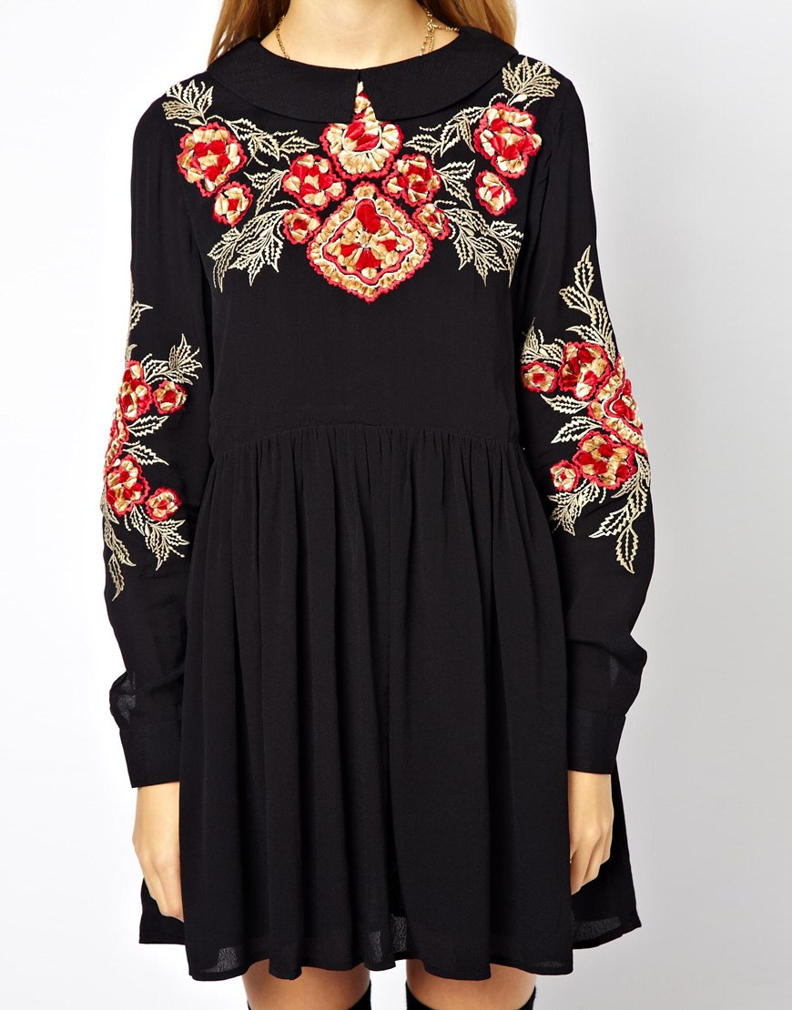 Lyst asos smock dress with floral embroidery in black