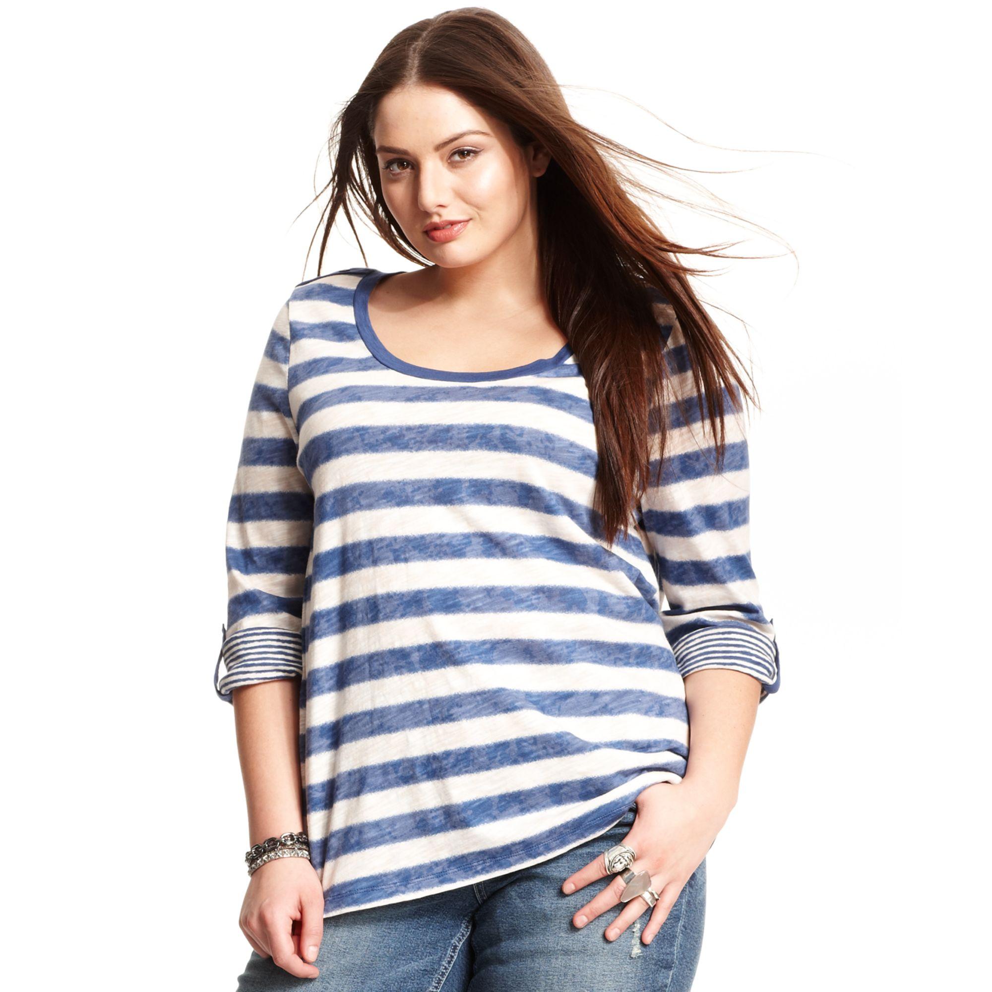 american rag plus size threequartersleeve striped top in