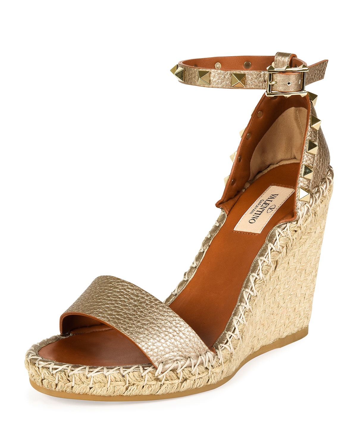 Lyst Valentino Rockstud Leather Wedge Espadrilles In