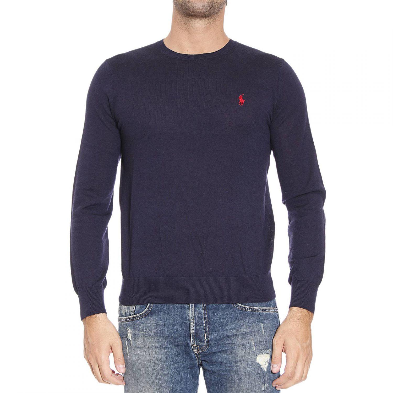 polo ralph lauren sweater merino slim fit crewnwck in blue for men. Black Bedroom Furniture Sets. Home Design Ideas
